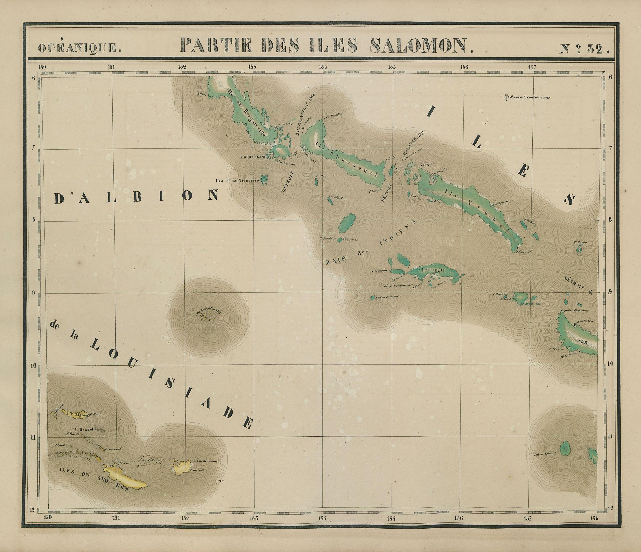 Océanique. Partie des Iles Salomon #32. Solomon Islands. VANDERMAELEN 1827 map