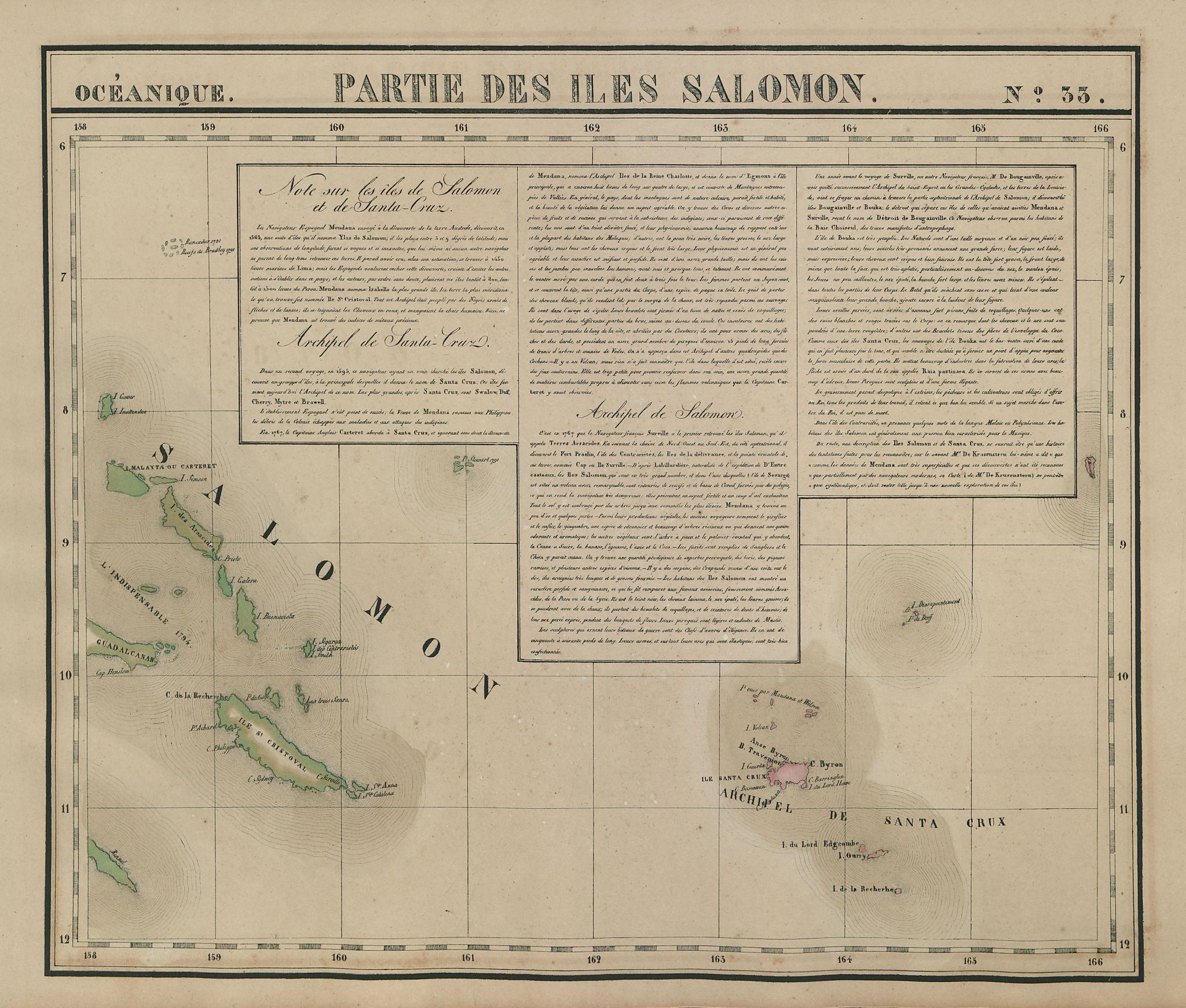 Océanique. Partie des Iles Salomon #33. Solomon Islands. VANDERMAELEN 1827 map