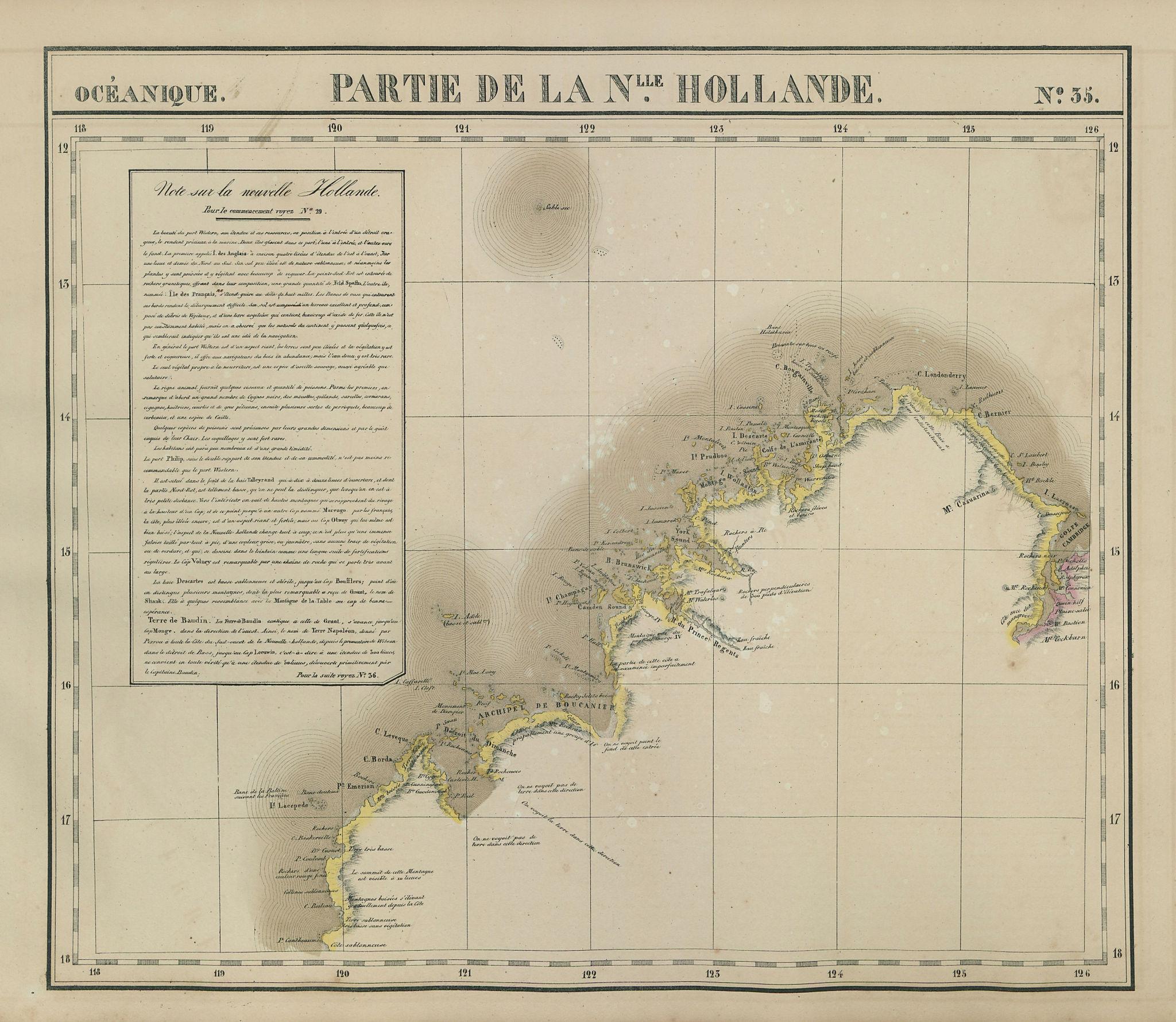 Océanique Partie de la Nlle Hollande #35 Western Australia VANDERMAELEN 1827 map