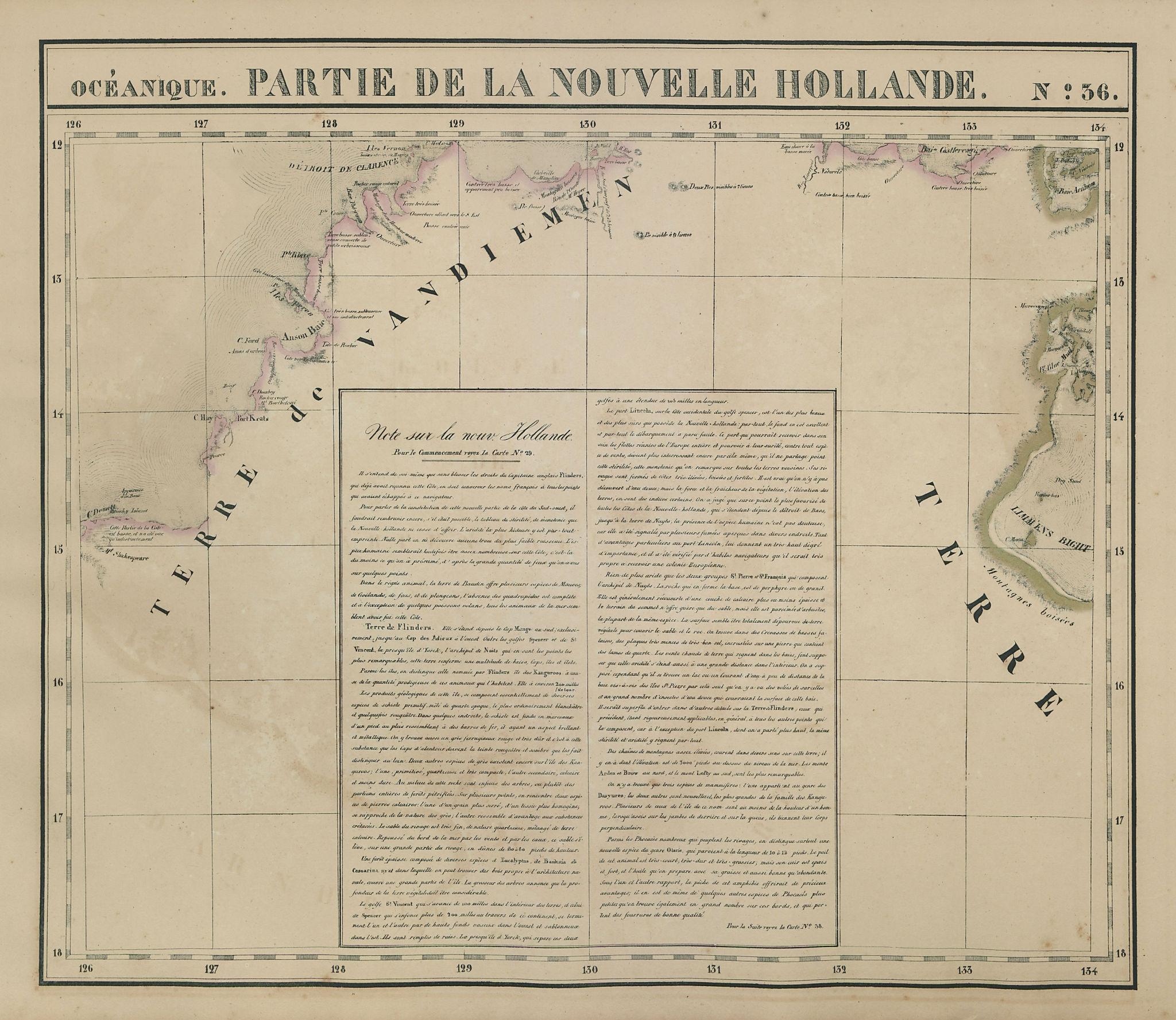 Océanique Partie de la Nlle Hollande 36 Northern Territory VANDERMAELEN 1827 map