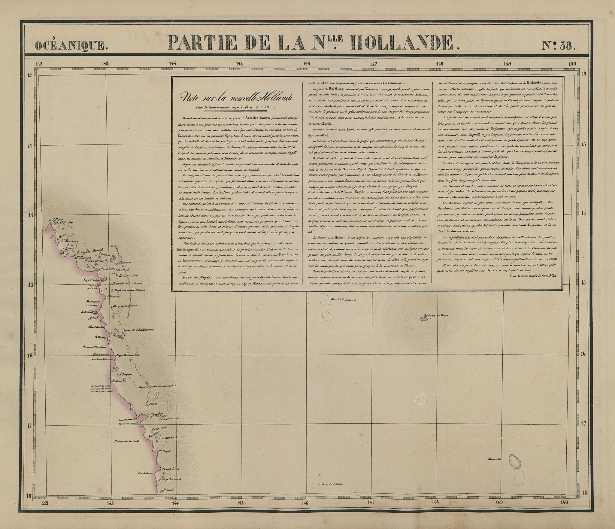 Océanique. Partie de la Nlle Hollande #38 Queensland coast VANDERMAELEN 1827 map