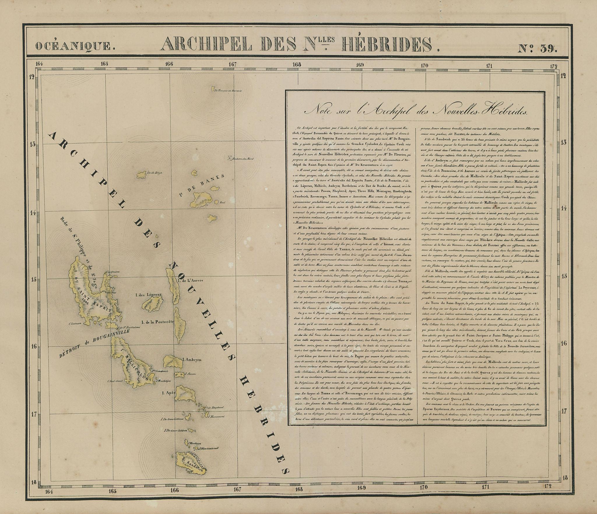 Océanique. Archipel des Nouvelle Hébrides #39. Vanuatu. VANDERMAELEN 1827 map