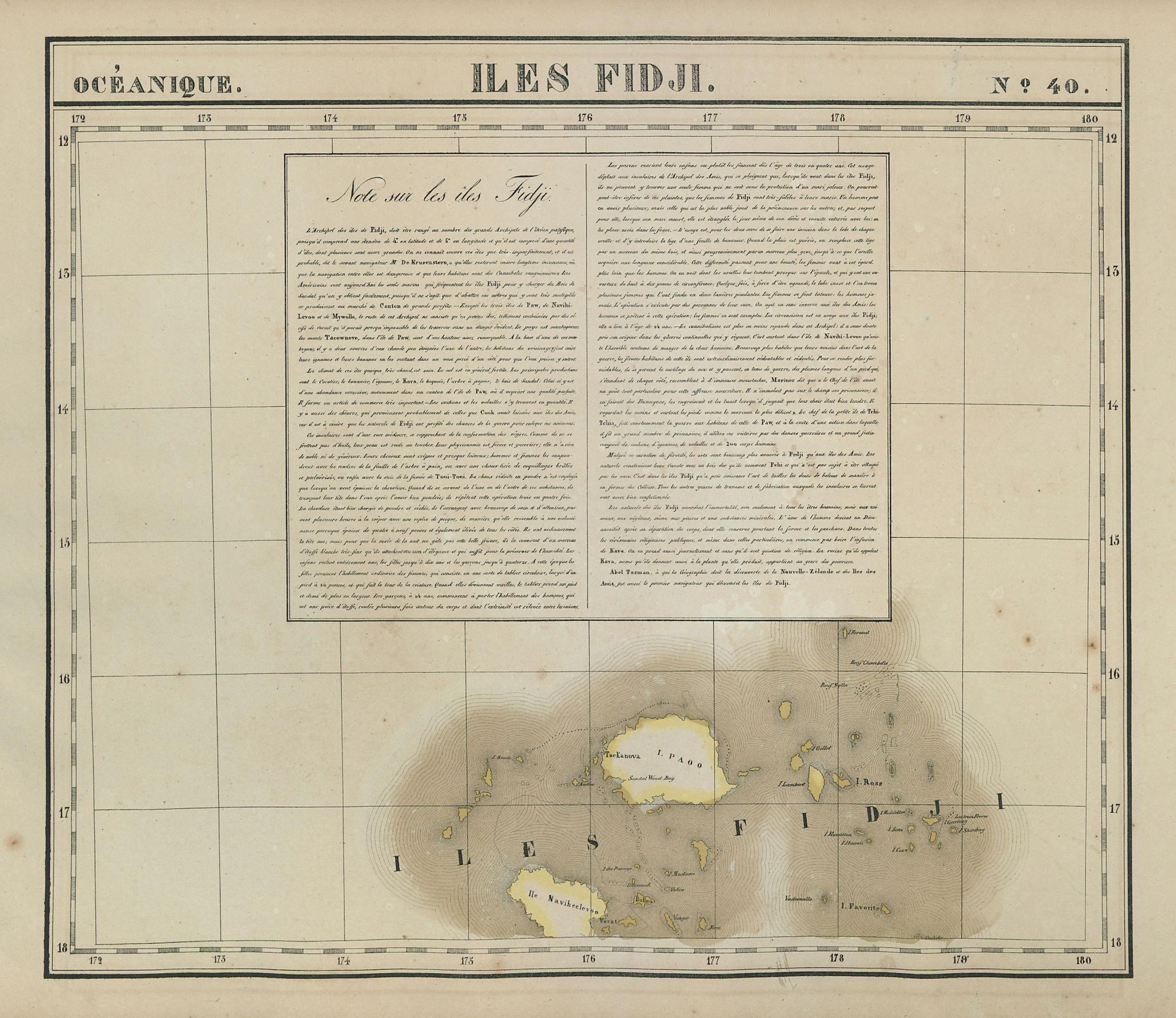 Océanique. Iles Fidji 40 Fiji islands Viti Levu Vanua Levu VANDERMAELEN 1827 map