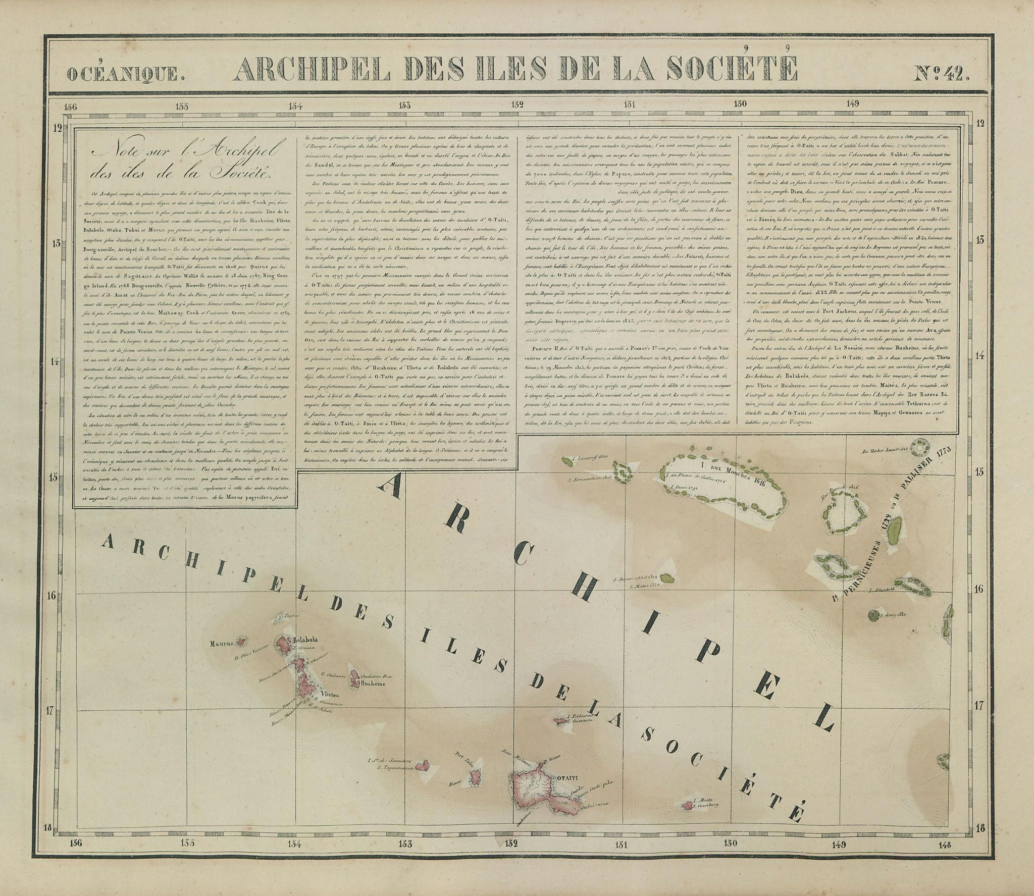 Océanique Iles de la Société #42 Tahiti Rangiroa Polynesia VANDERMAELEN 1827 map