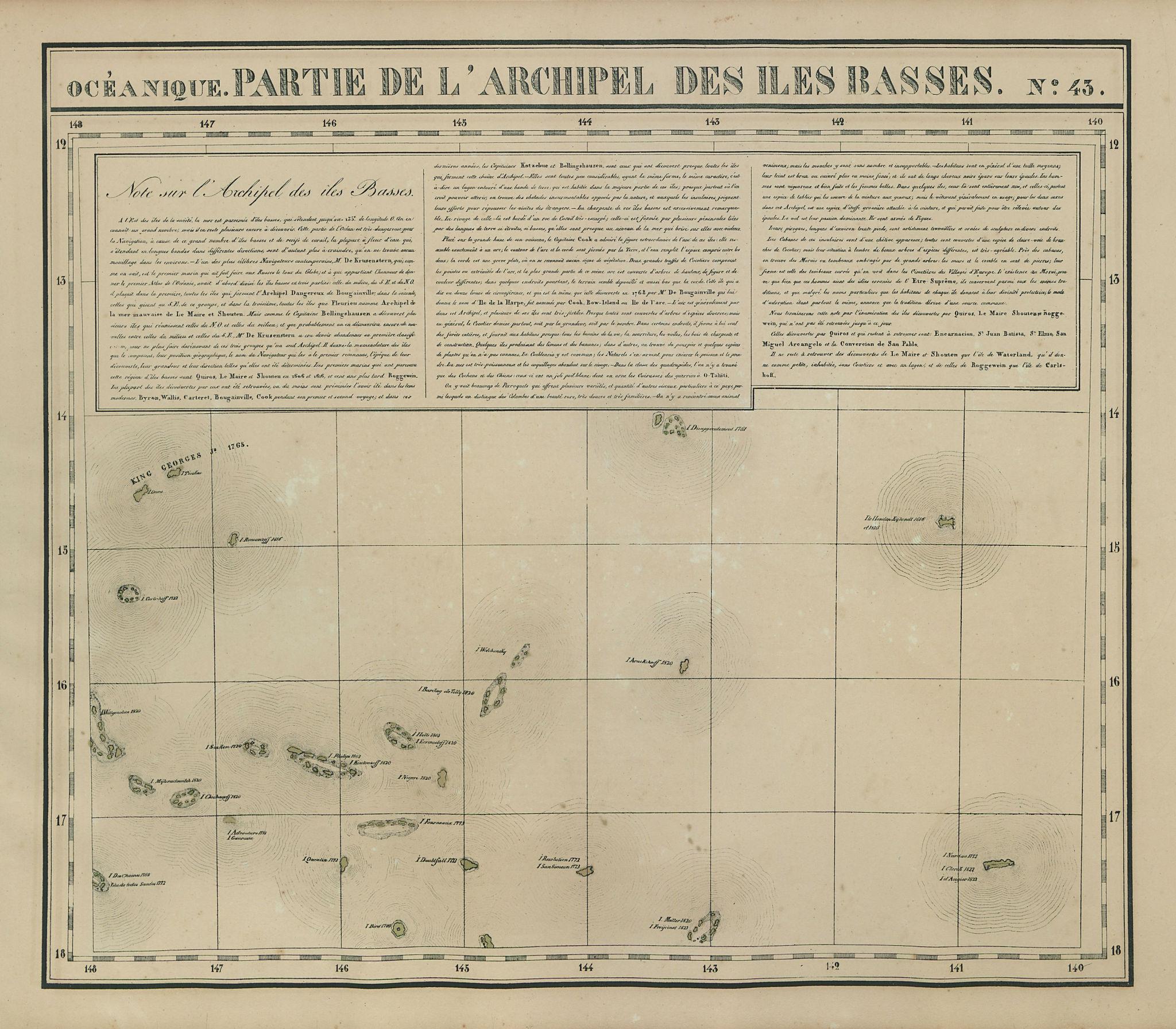 Océanique Partie… des Iles Basses 43 NE Tuamotus Polynesia VANDERMAELEN 1827 map