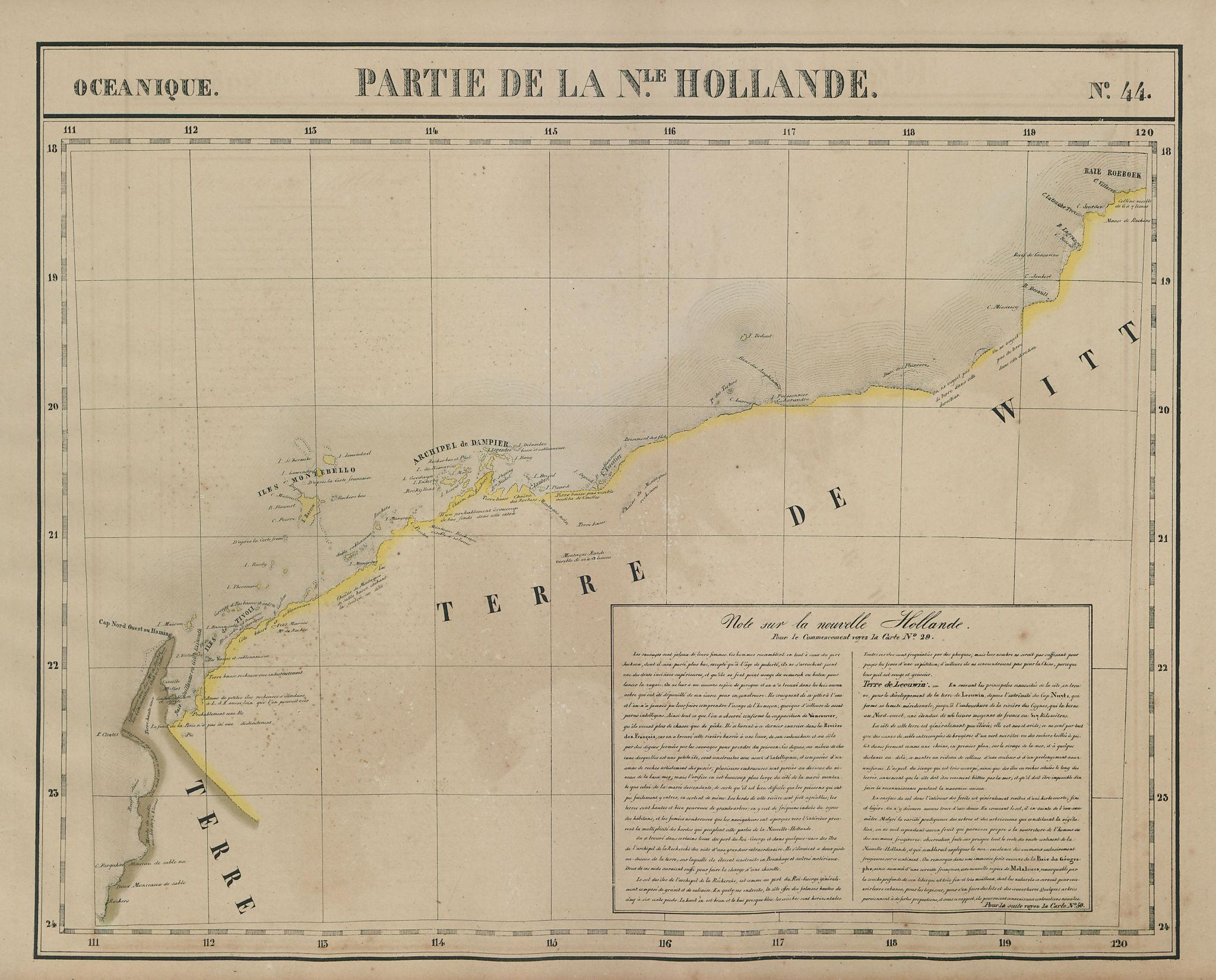 Océanique. Partie de la Nle Hollande #44 Western Australia VANDERMAELEN 1827 map