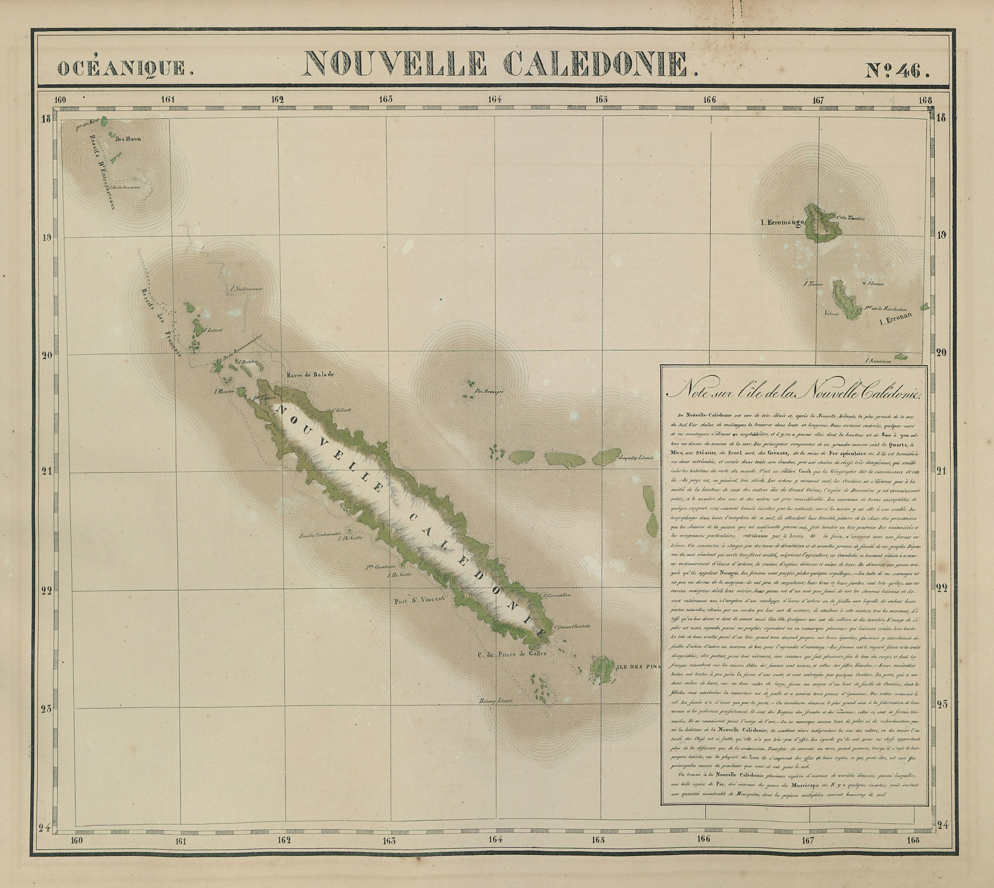Océanique. Nouvelle Caledonie #46. New Caledonia Vanuatu. VANDERMAELEN 1827 map