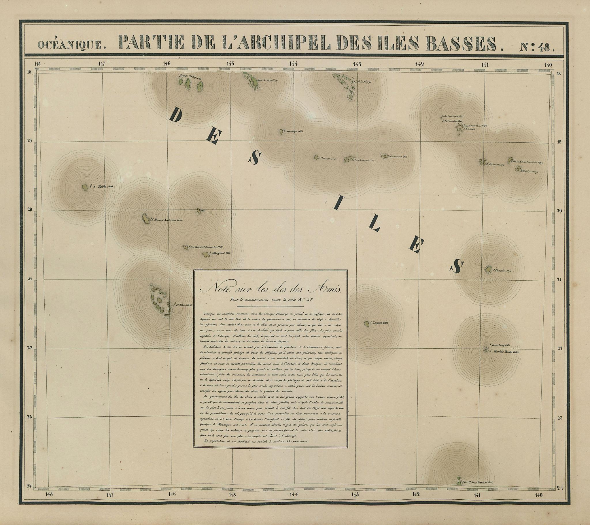 Océanique Partie… des Iles Basses 48 SE Tuamotus Polynesia VANDERMAELEN 1827 map