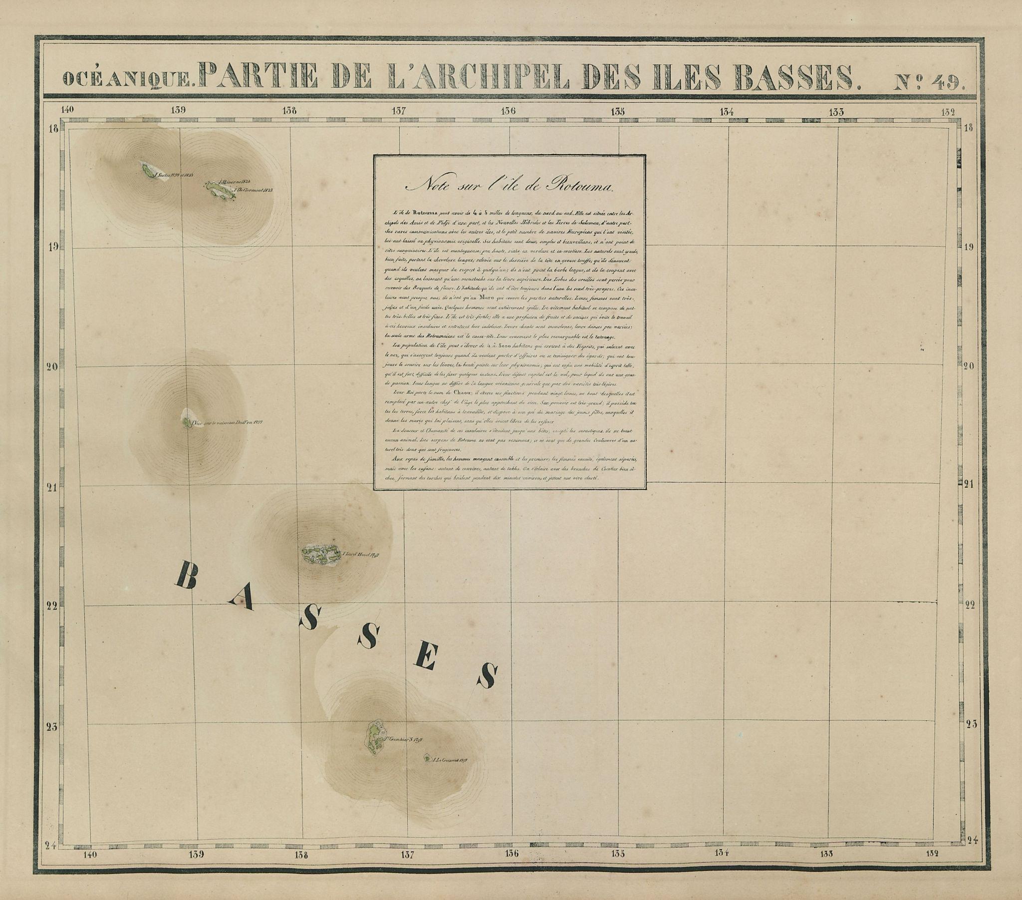 Océanique. Partie… des Iles Basses #49 Gambiers Polynesia. VANDERMAELEN 1827 map
