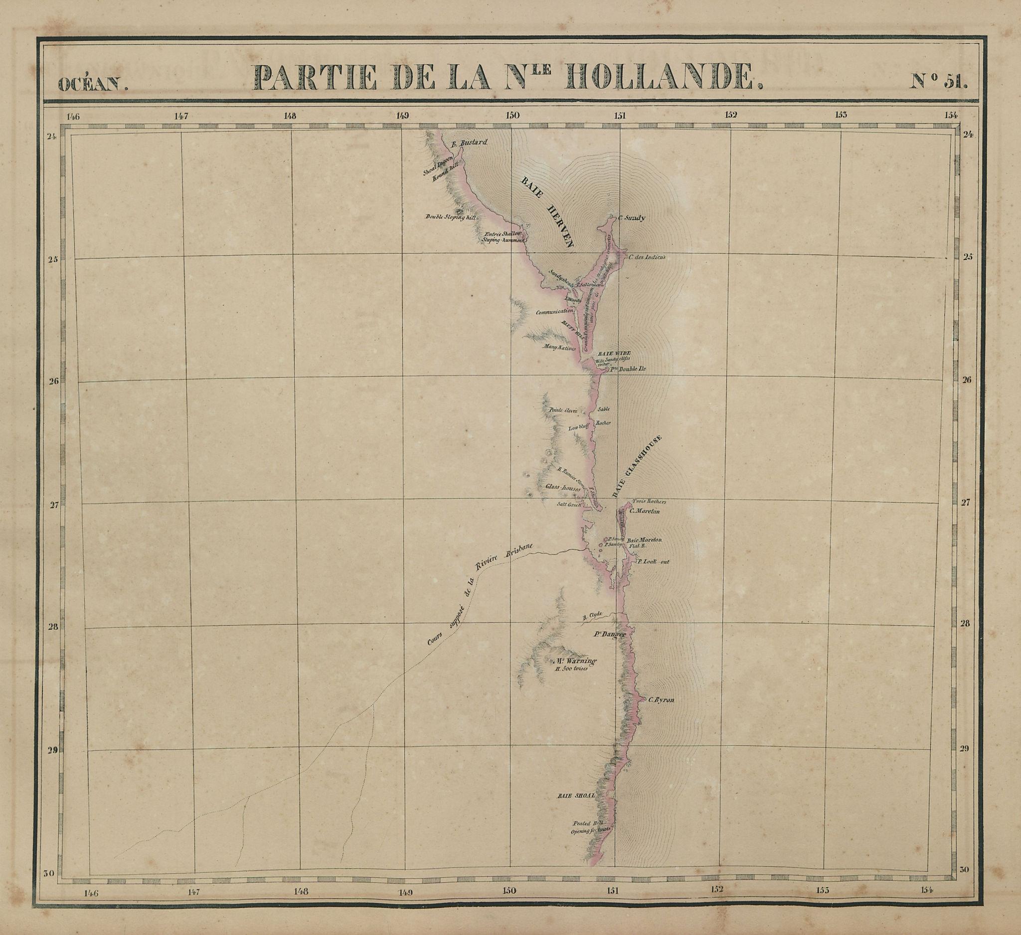 Océanique. Partie… Nle Hollande #51. Queensland NSW coast. VANDERMAELEN 1827 map