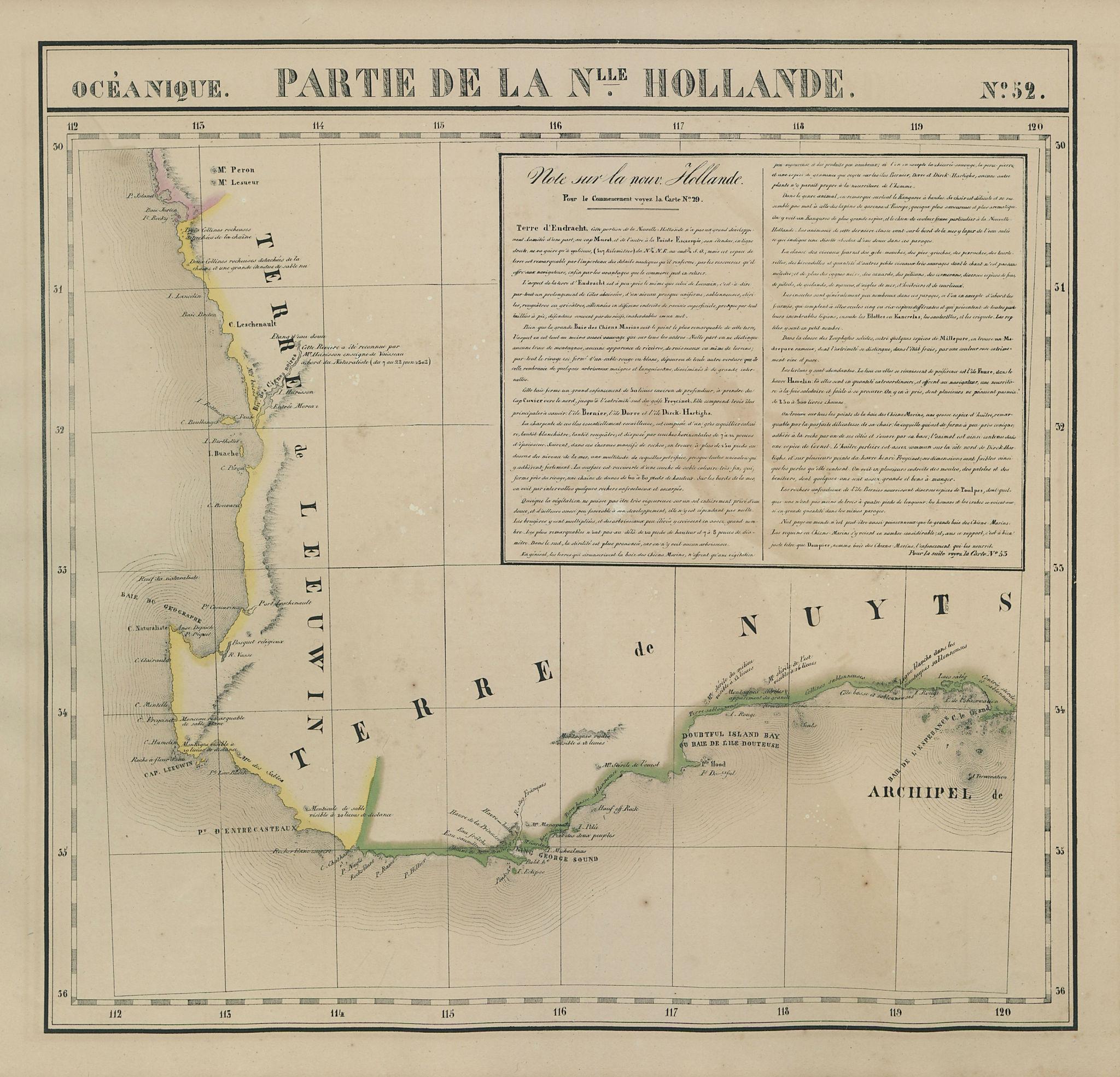Océanique. Partie… Nle Hollande #52. Western Australia SW. VANDERMAELEN 1827 map