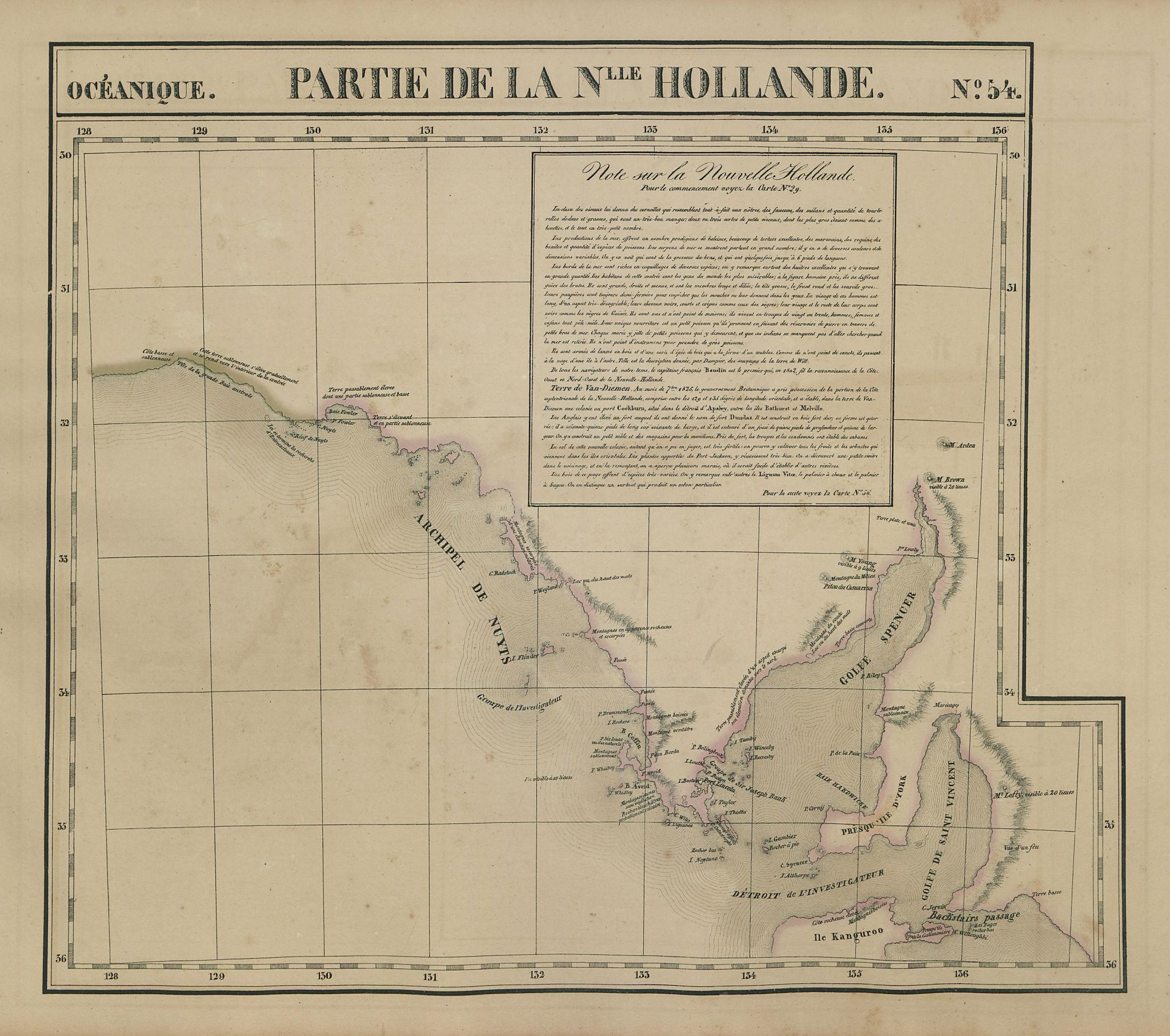 Océanique. Partie… Nlle Hollande #54 South Australia coast VANDERMAELEN 1827 map