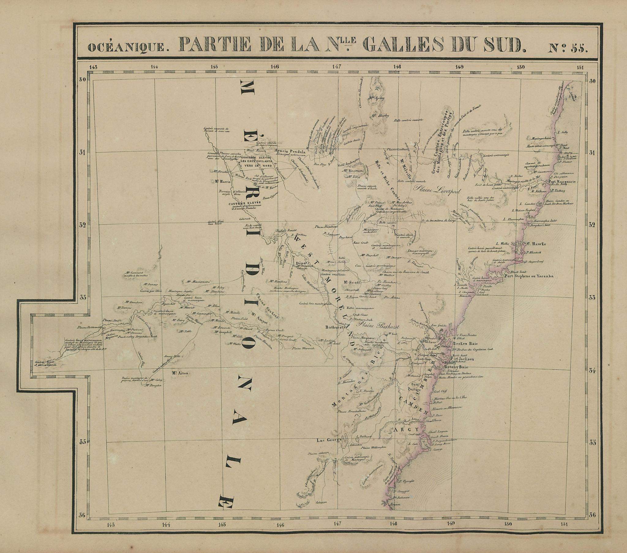 Océanique. Partie… Nlle Galles du Sud #55. New South Wales VANDERMAELEN 1827 map