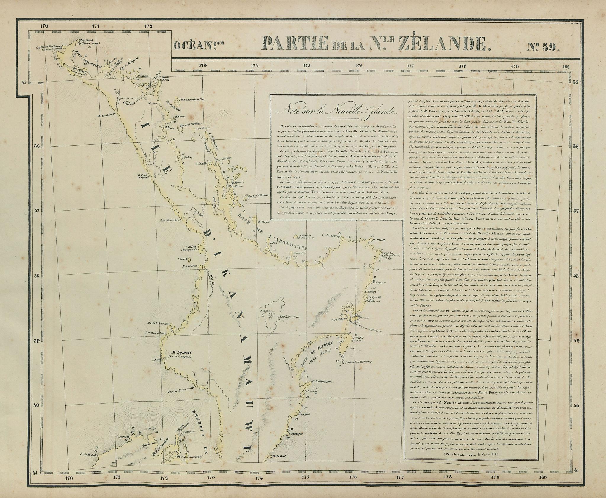 Océanique Partie de la Nle Zélande 59 New Zealand North Is VANDERMAELEN 1827 map