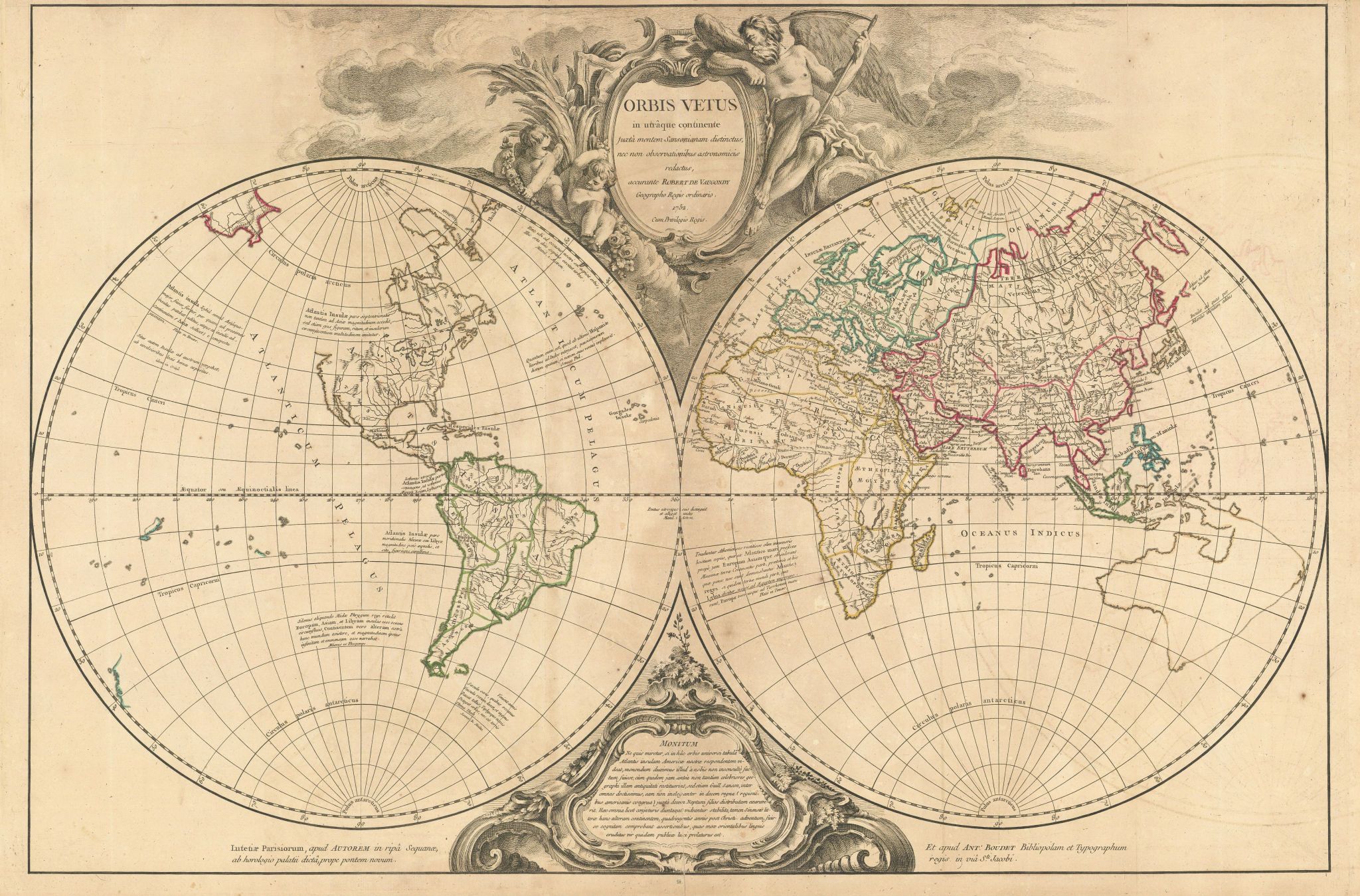 """""""Orbis Vetus…"""" World twin hemispheres. ROBERT DE VAUGONDY 1752 old antique map"""