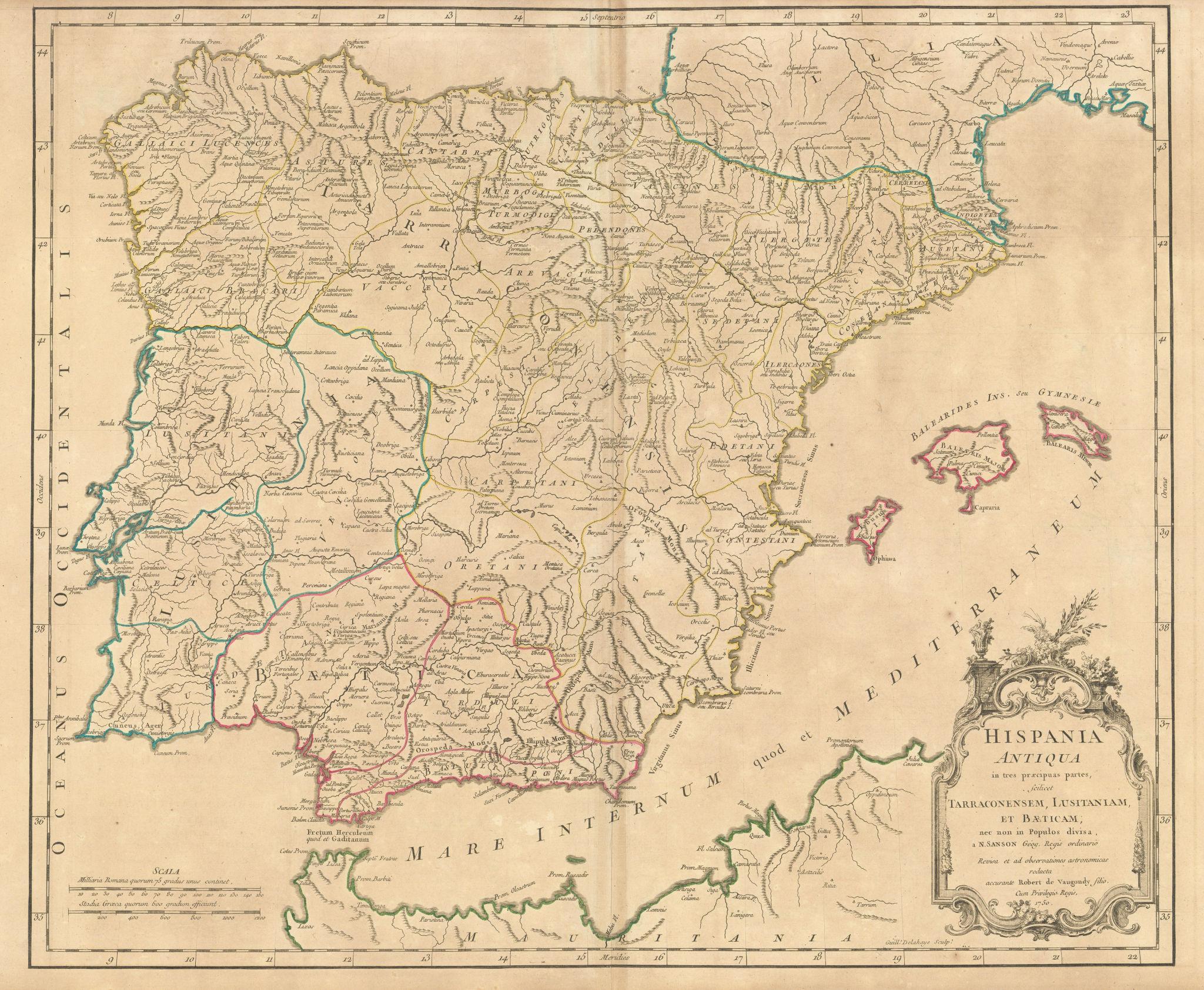 """""""Hispania Antiqua in tres praecipuas partes…"""" Ancient Iberia. VAUGONDY 1750 map"""