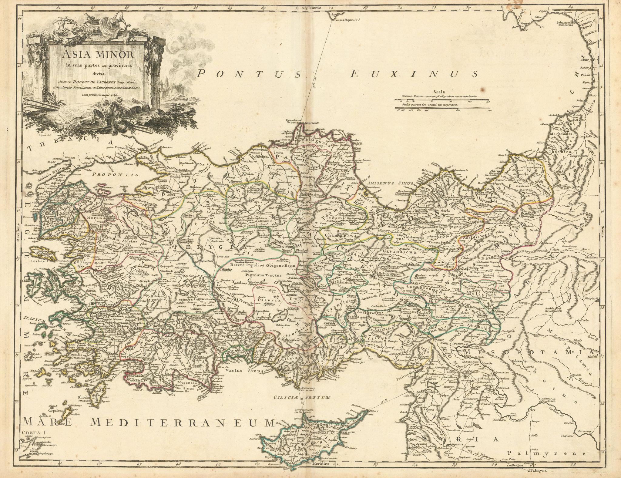 """""""Asia Minor in suas partes seu provincias divisa"""". Turkey. VAUGONDY 1756 map"""