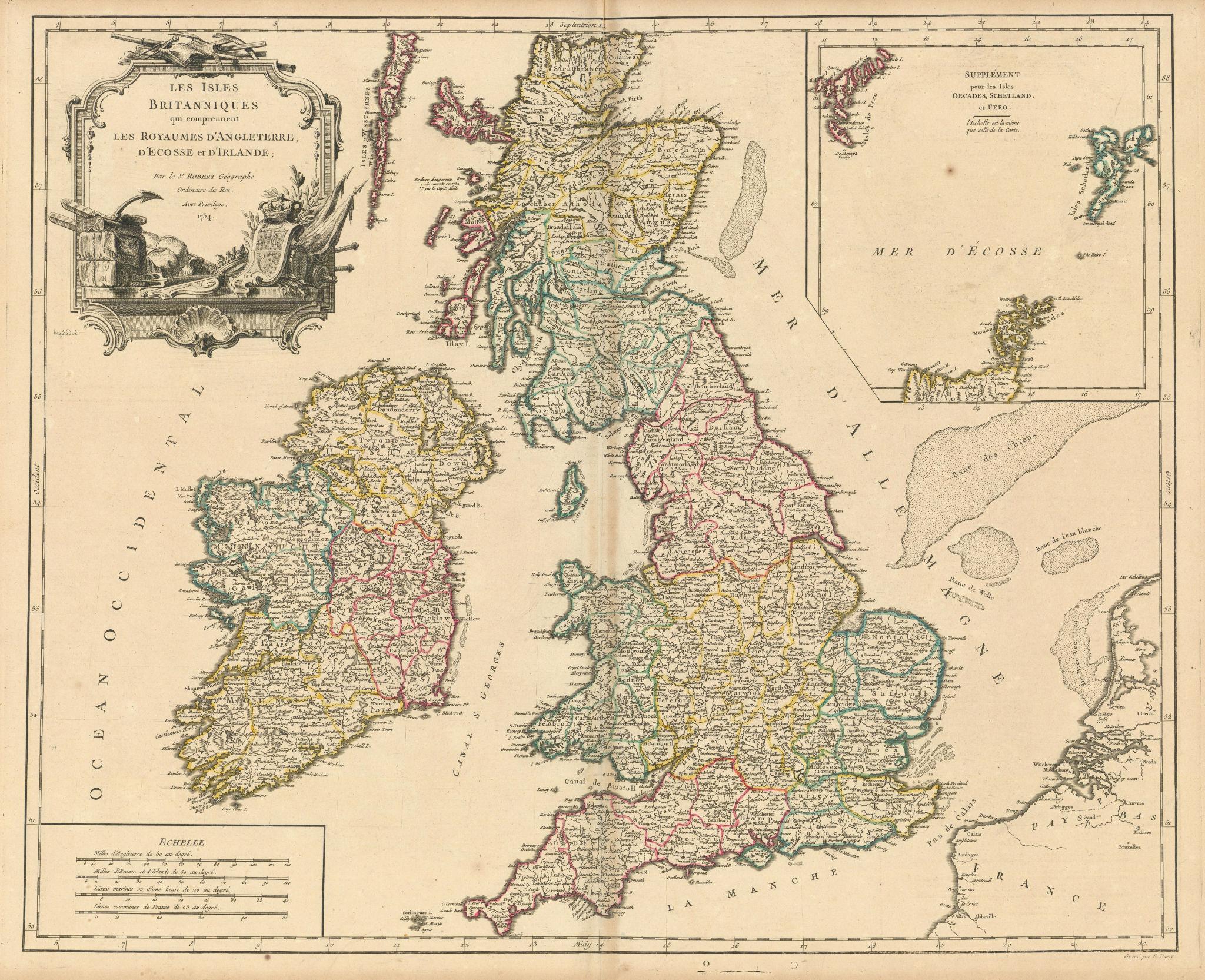 """Les Isles Britanniques qui comprennent…"" British Isles. VAUGONDY 1754 old map"