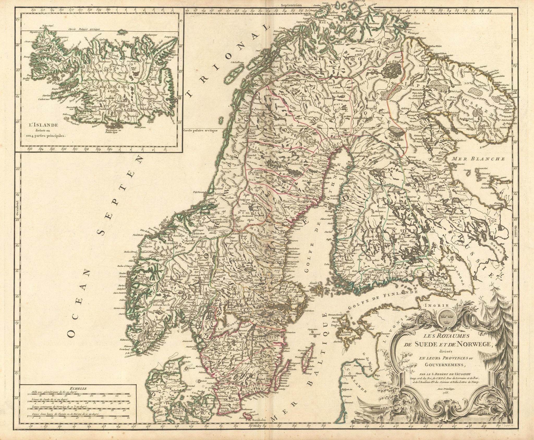 """""""Les Royaumes de Suede et de Norwege"""". Scandinavia Iceland. VAUGONDY 1756 map"""