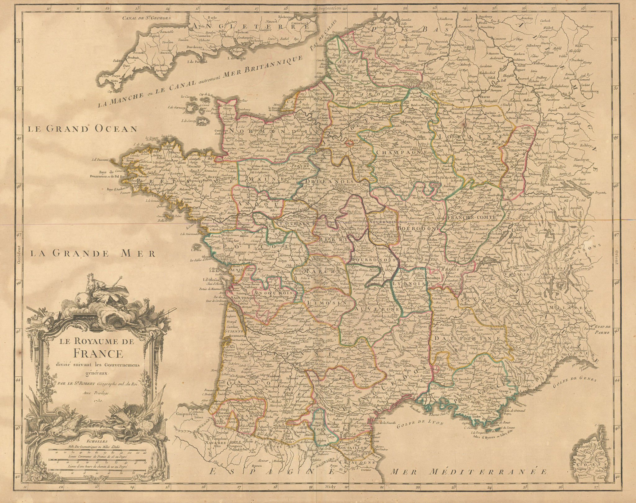 """""""Le Royaume de France divisé… Gouvernemens généraux"""" provinces VAUGONDY 1750 map"""