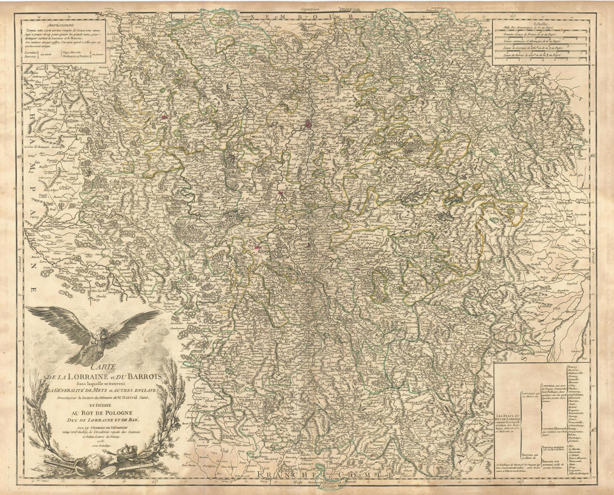 """""""Carte de la Lorraine et du Barrois…"""" Grand East. NE France. VAUGONDY 1756 map"""