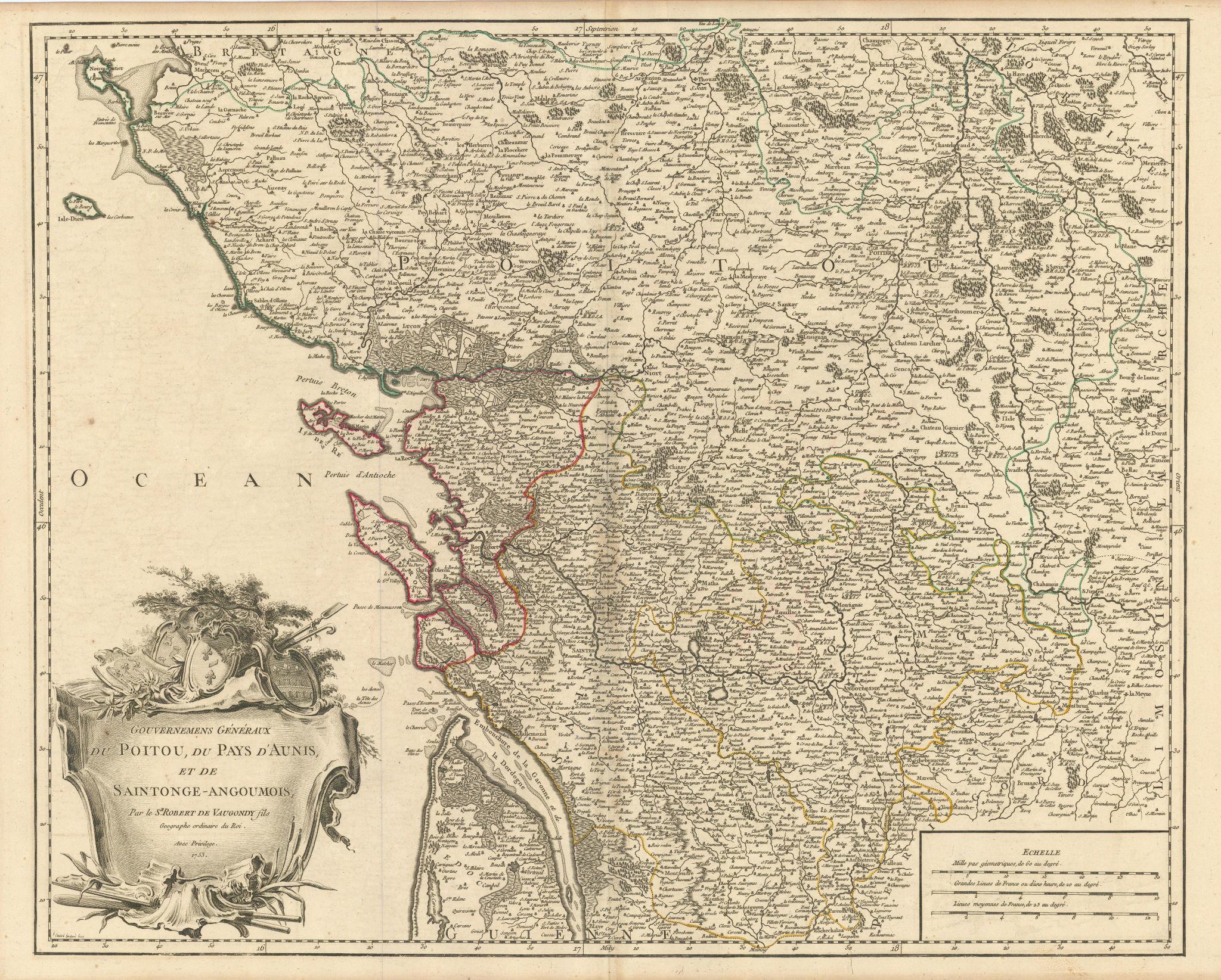 """""""Gouv. Généraux du Poitou, du Pays d'Aunis…"""" Charente Vendée. VAUGONDY 1753 map"""