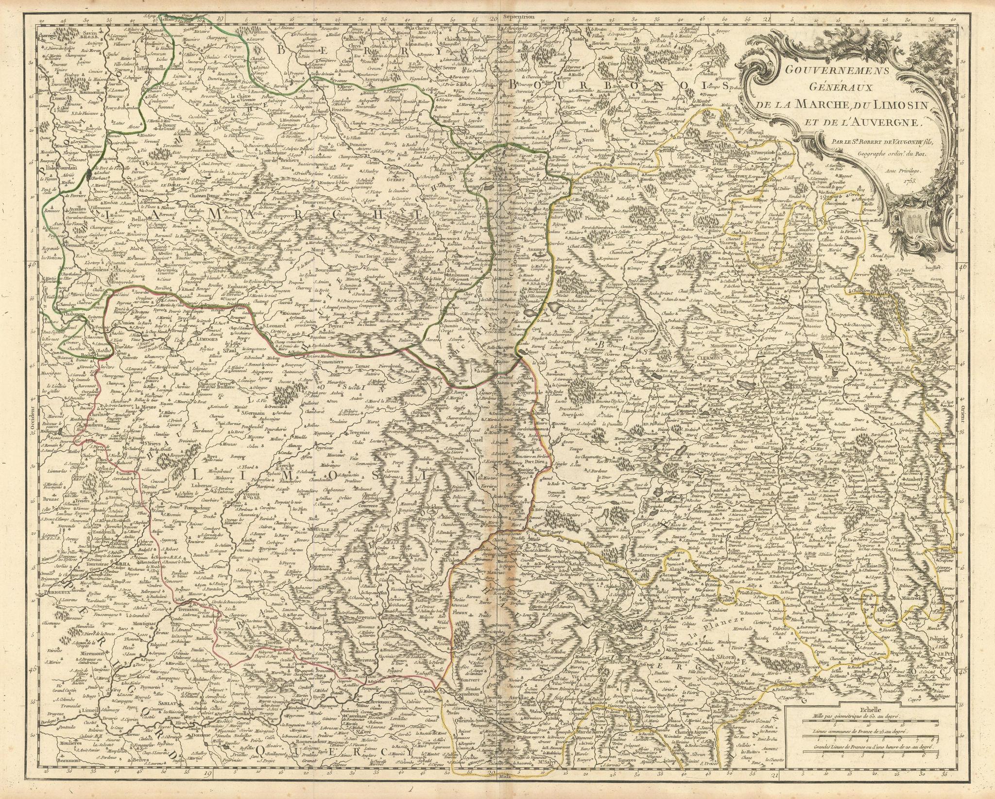 """""""…de la Marche, du Limosin & de l'Auvergne"""" France centre. VAUGONDY 1753 map"""