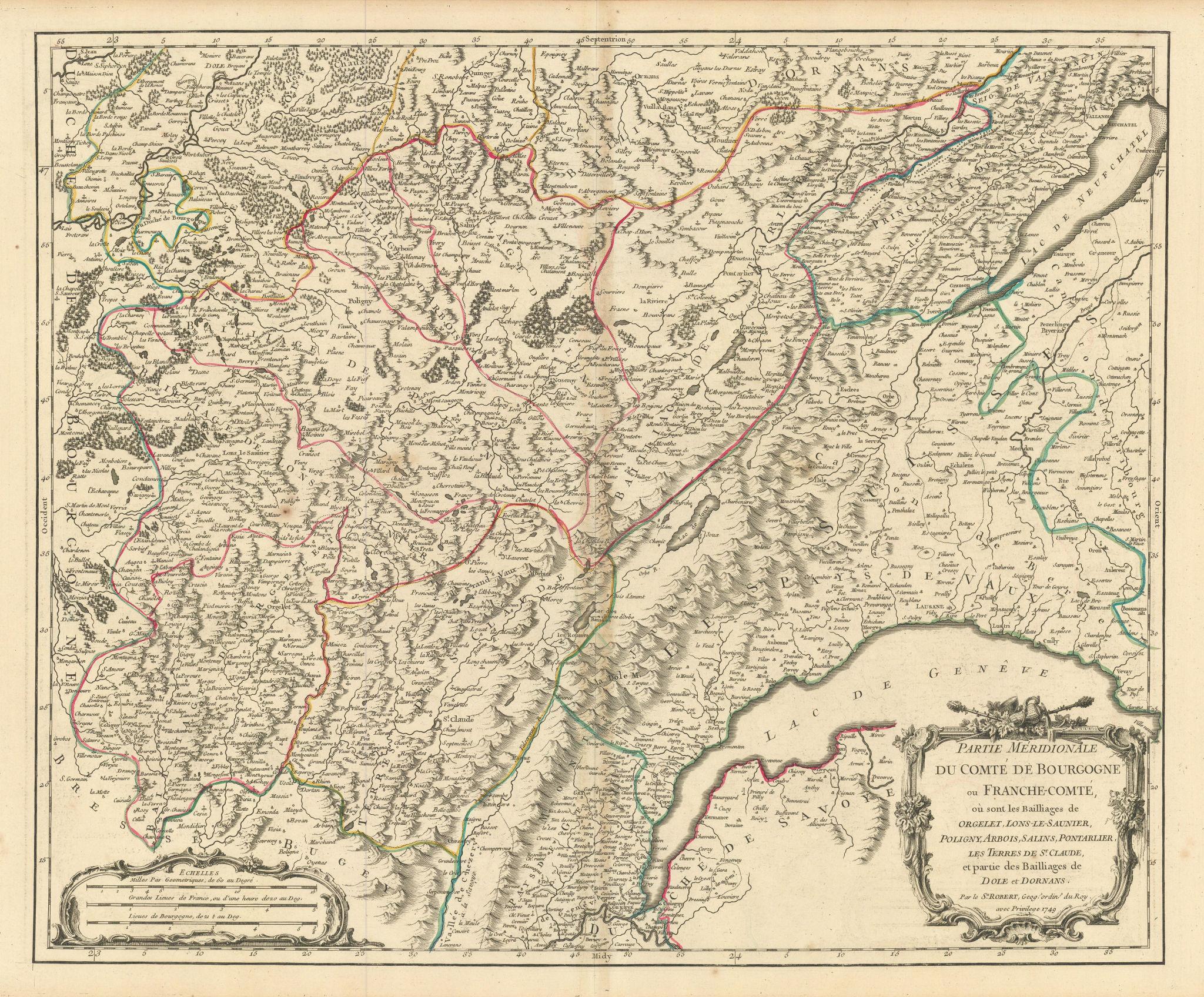 """""""Partie Méridionale… de Bourgogne ou Franche-Comté"""" Jura Vaud. VAUGONDY 1749 map"""
