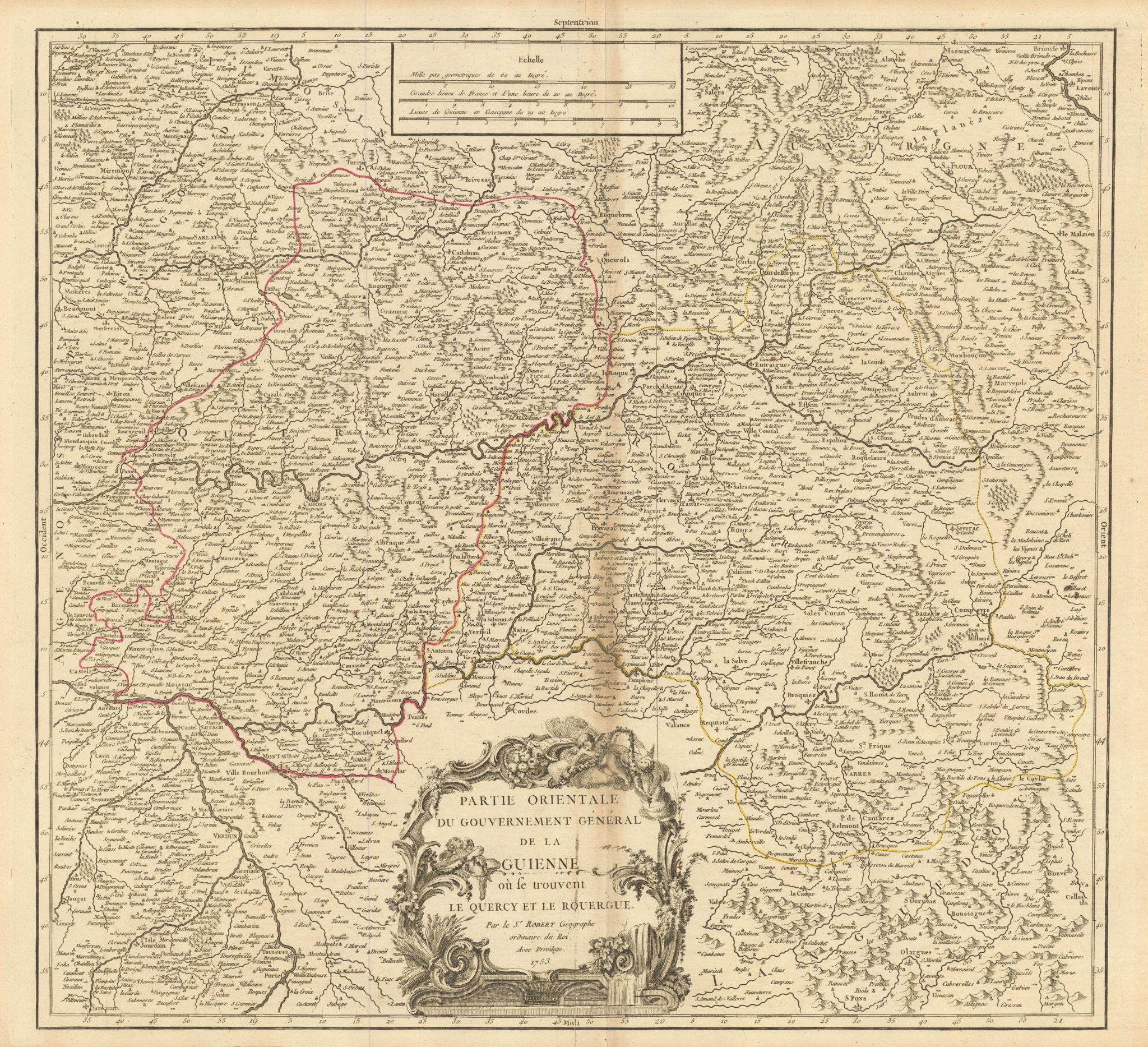 """""""Partie Orientale du Gouv. Général de la Guienne"""". Occitanie. VAUGONDY 1753 map"""