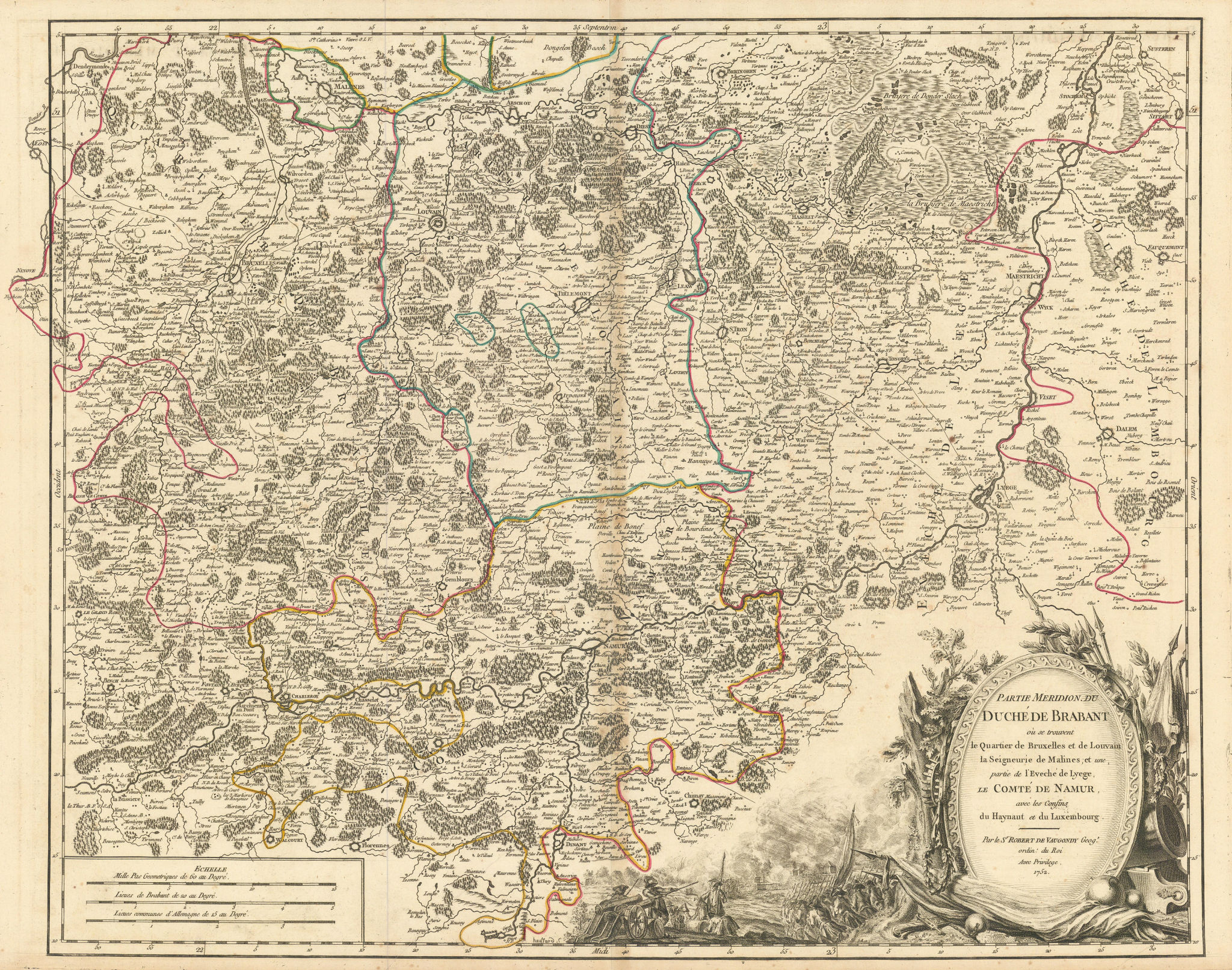 """""""Partie Meridion. du Duché de Brabant"""". Belgium South Brabant. VAUGONDY 1752 map"""