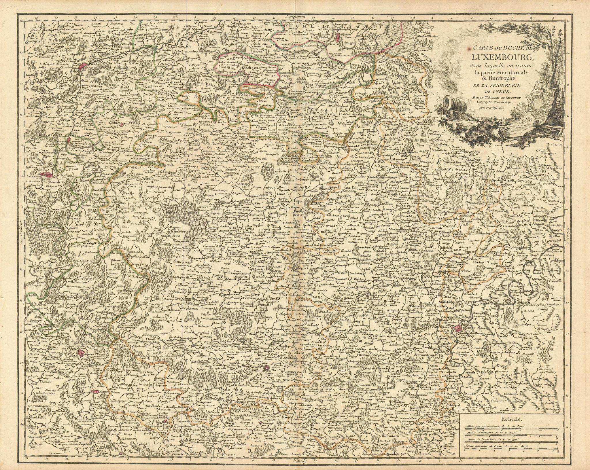 """""""Carte du Duche de Luxembourg"""". Duchy of Luxemburg. S Belgium. VAUGONDY 1753 map"""