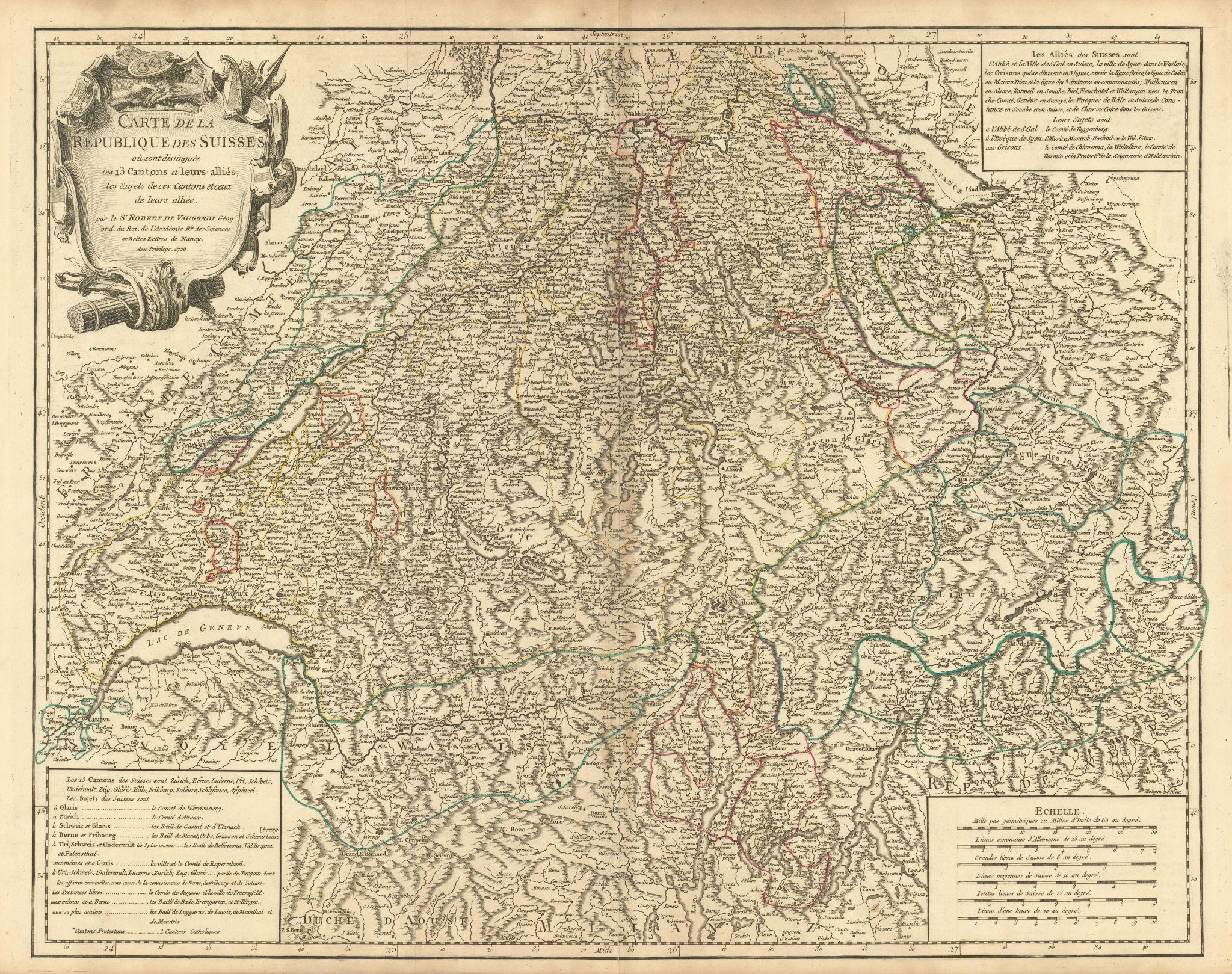 """""""Carte de la Republique des Suisses"""". Schweiz Switzerland. VAUGONDY 1756 map"""