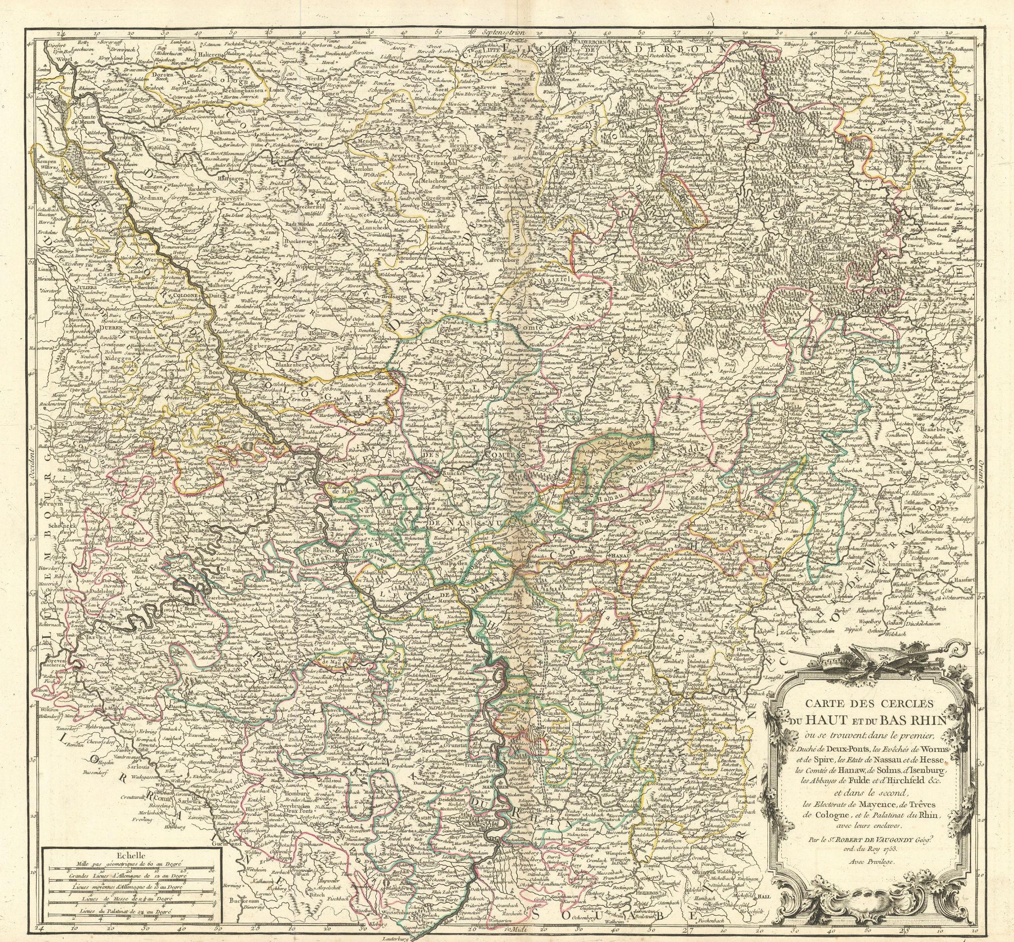 """""""Carte des Cercles du Haut et du Bas Rhin"""". Germany Rhineland. VAUGONDY 1753 map"""