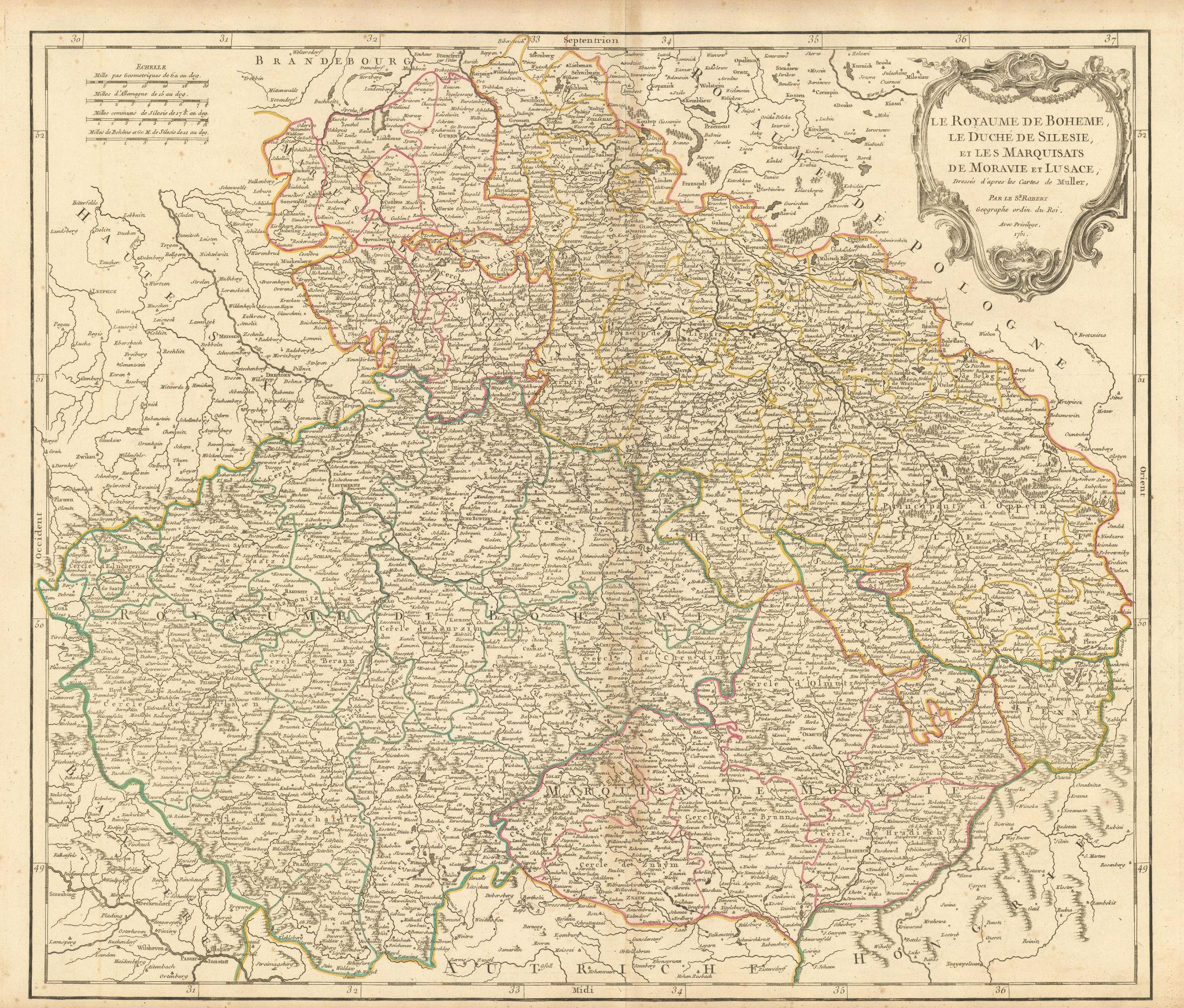 """""""Le Royaume de Boheme, le Duché de Silesie…"""" Silesia & Czechia VAUGONDY 1751 map"""