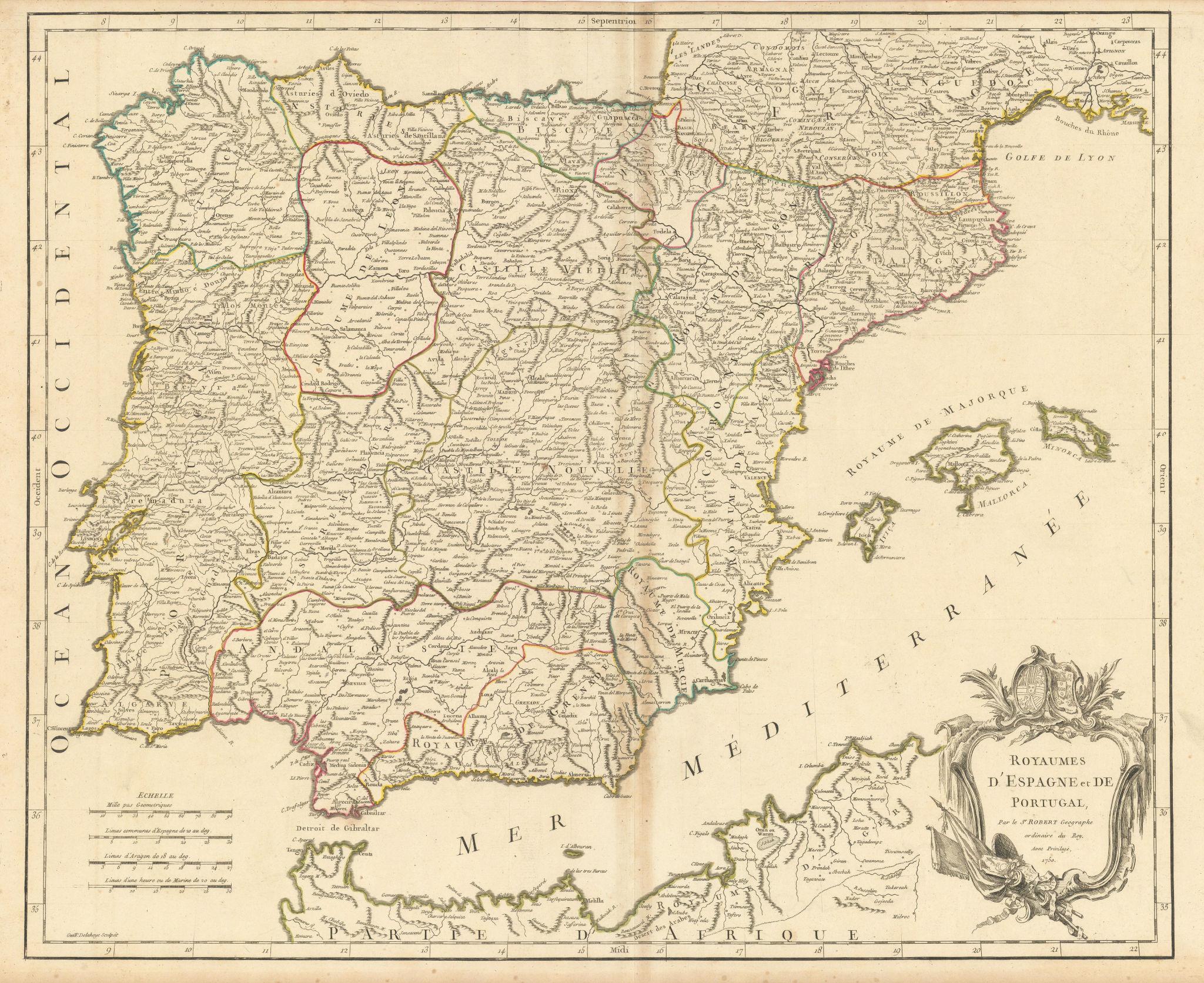 """""""Royaumes d'Espagne et de Portugal"""". Spain & Portugal. Iberia. VAUGONDY 1750 map"""
