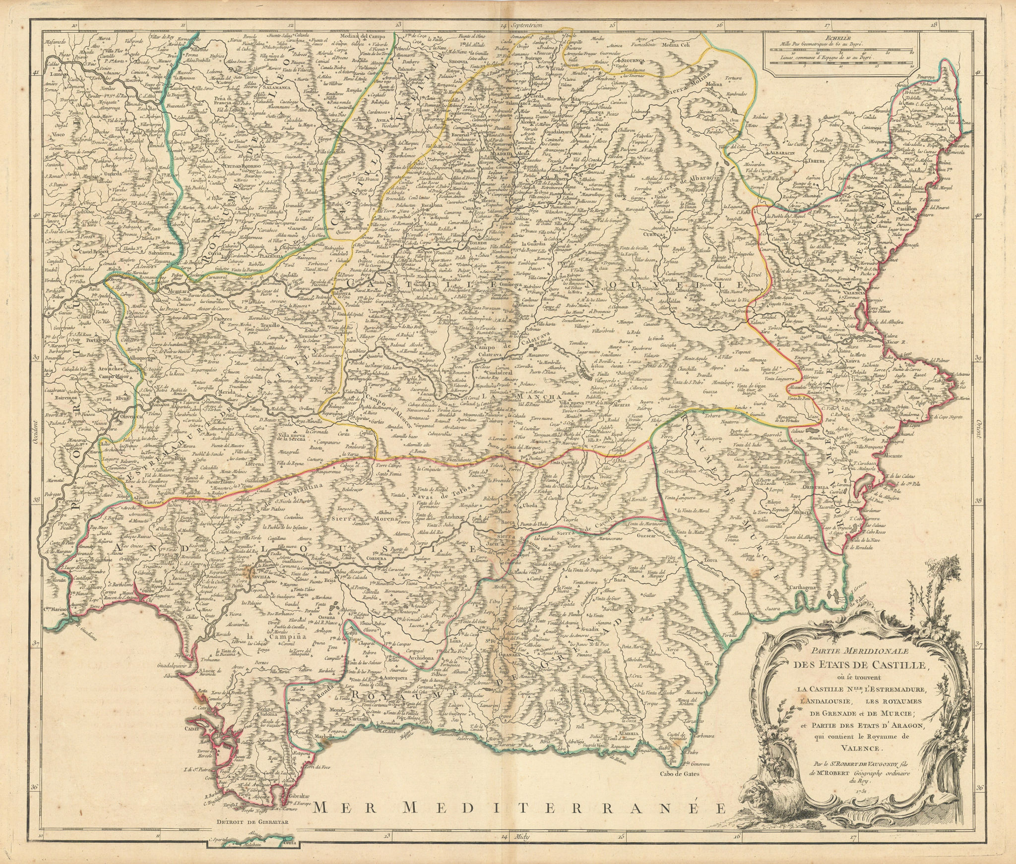 """""""Partie Meridionale des Etats de Castille"""". Southern Spain. VAUGONDY 1751 map"""