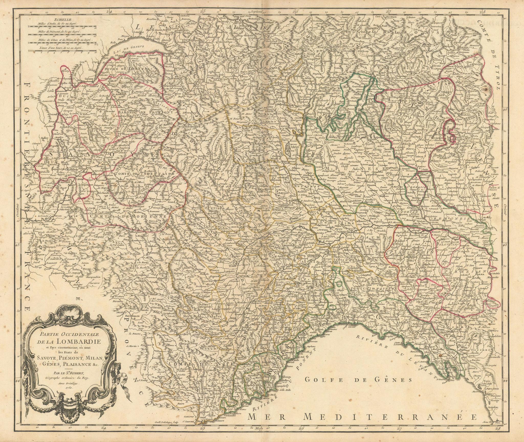 """Partie Occidentale de la Lombardie"" NW Italy Liguria Piedmont VAUGONDY 1750 map"