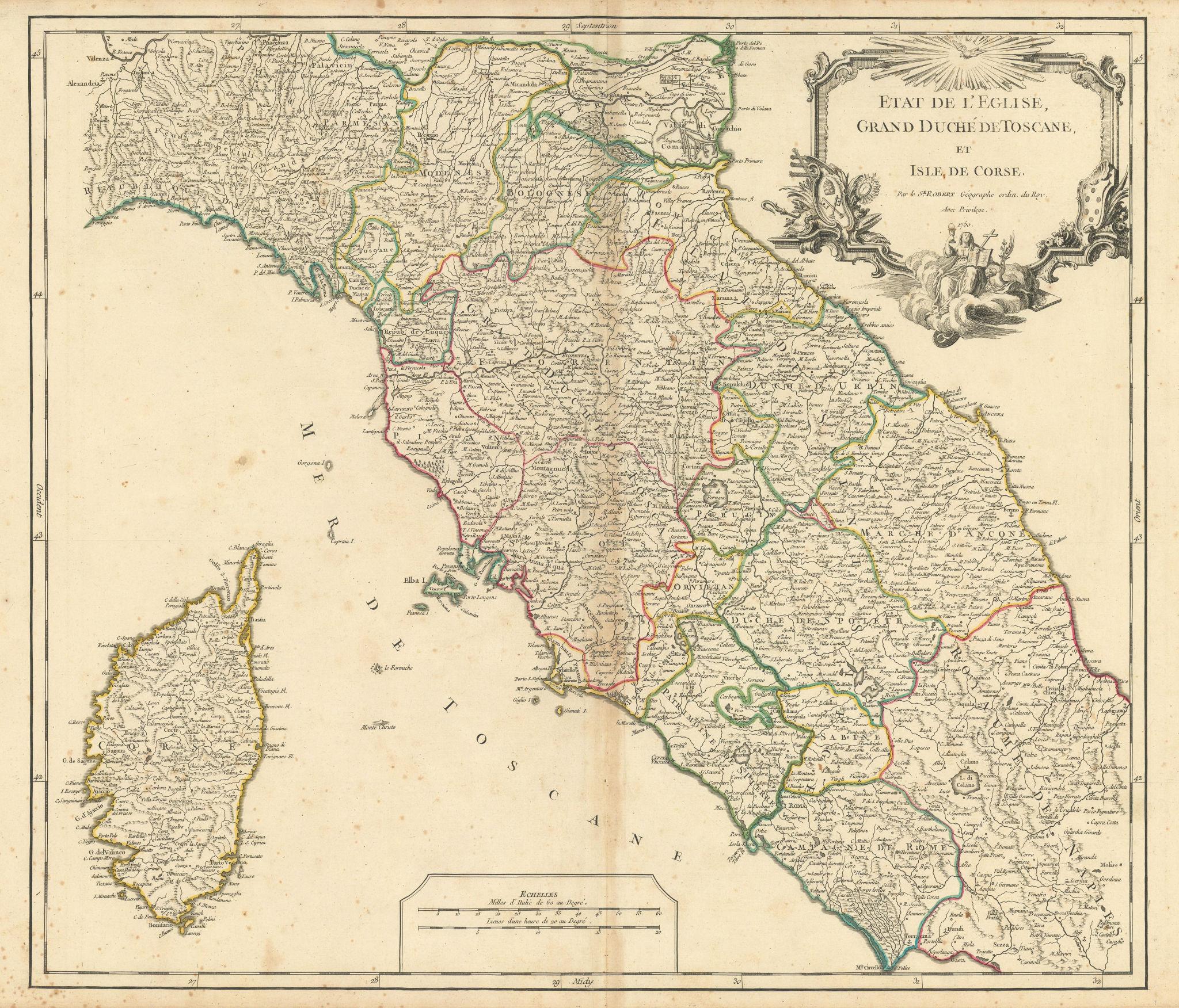 """""""Etat l'Eglise, Grand Duché Toscane et Isle Corse"""" Tuscany. VAUGONDY 1750 map"""