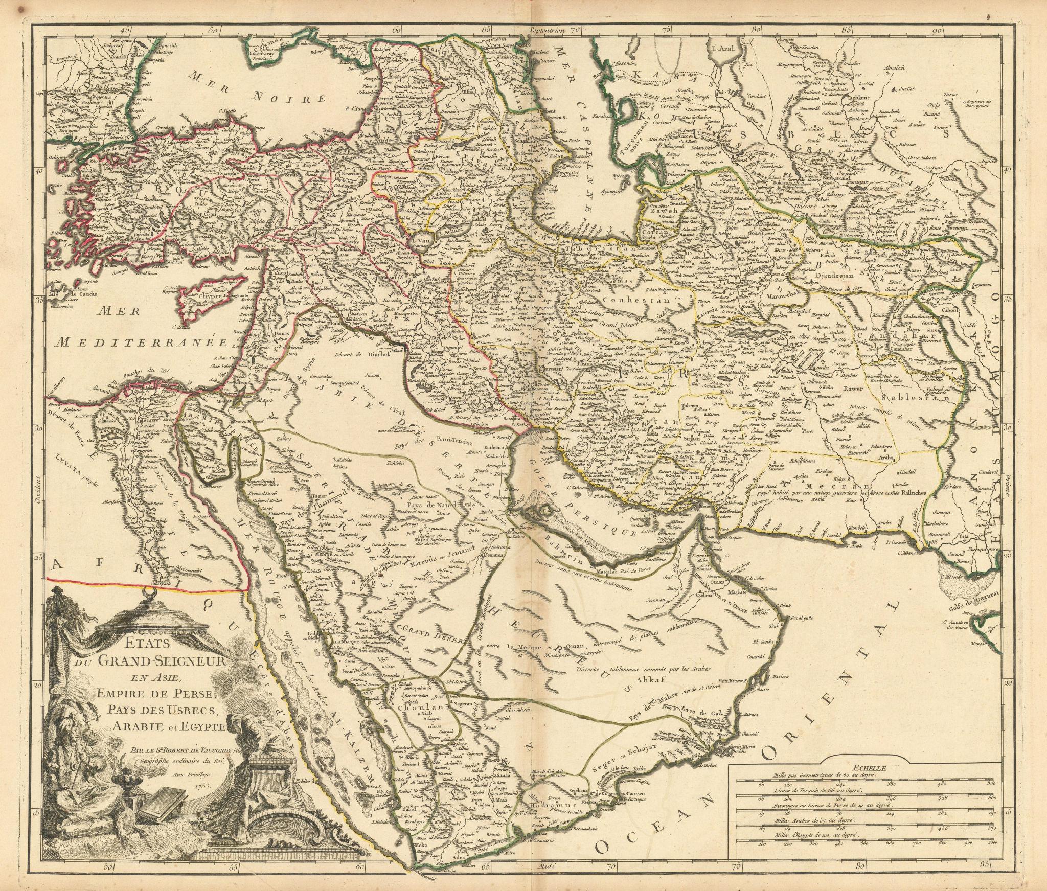 """""""Etats Grand-Seigneur en Asie…"""" Middle East Arabia SW Asia. VAUGONDY 1753 map"""