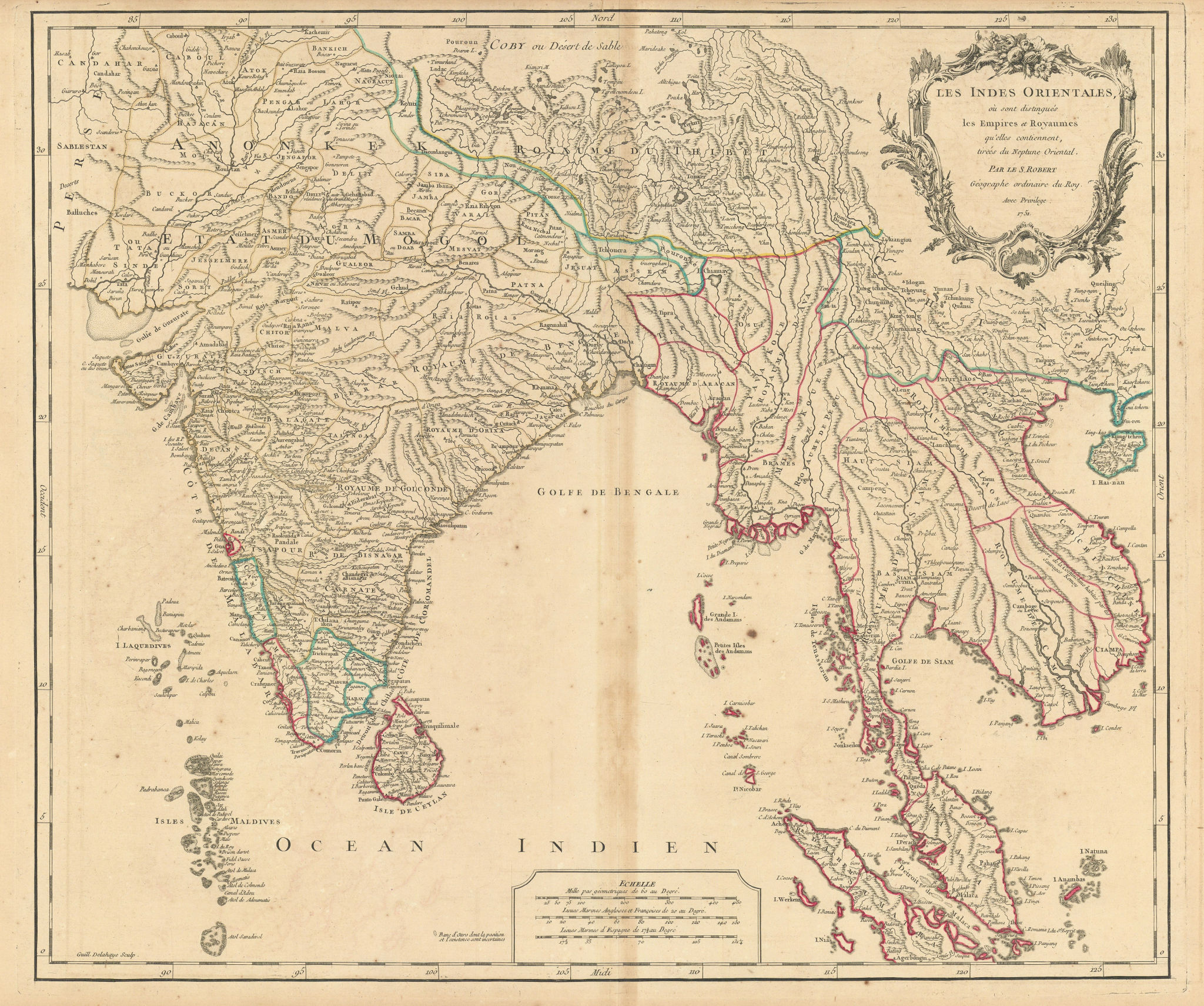 """""""Les Indes Orientales…"""" South Asia India Indochina Tibet. VAUGONDY 1751 map"""