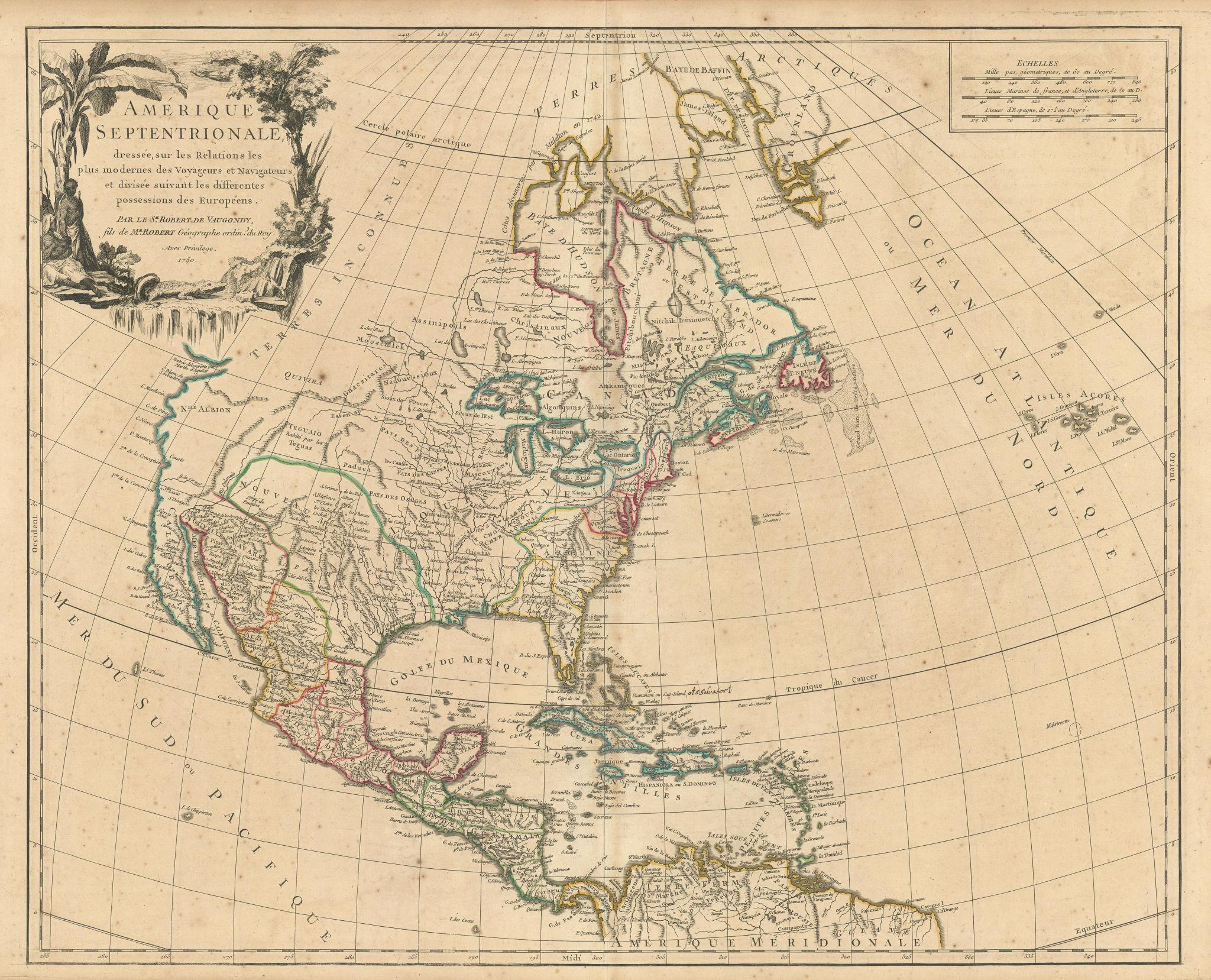 """Amérique Septentrionale"". North America United States Canada. VAUGONDY 1750 map"