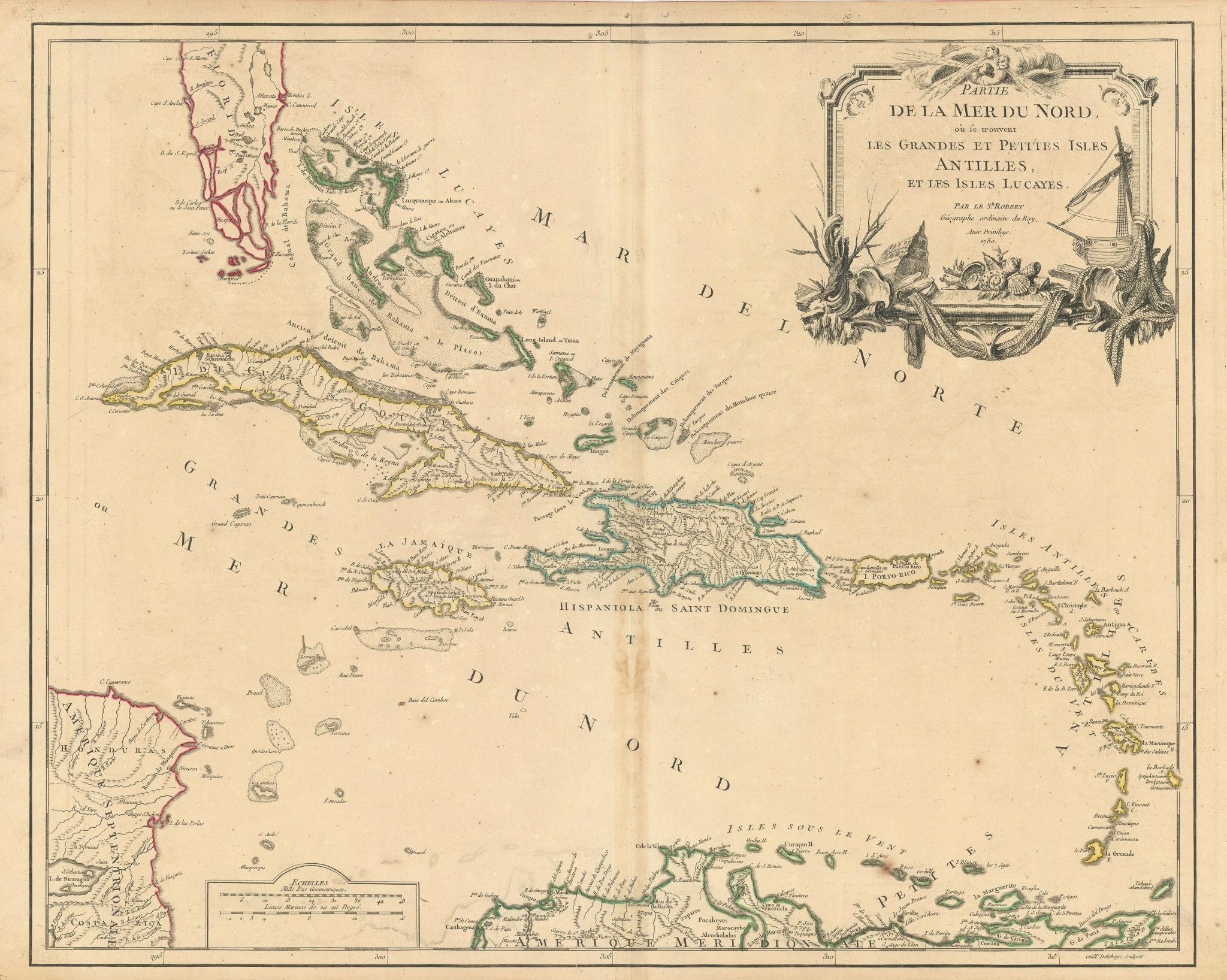 """""""La Mer du Nord où se trouvent les… Isles"""". Caribbean. VAUGONDY 1750 old map"""