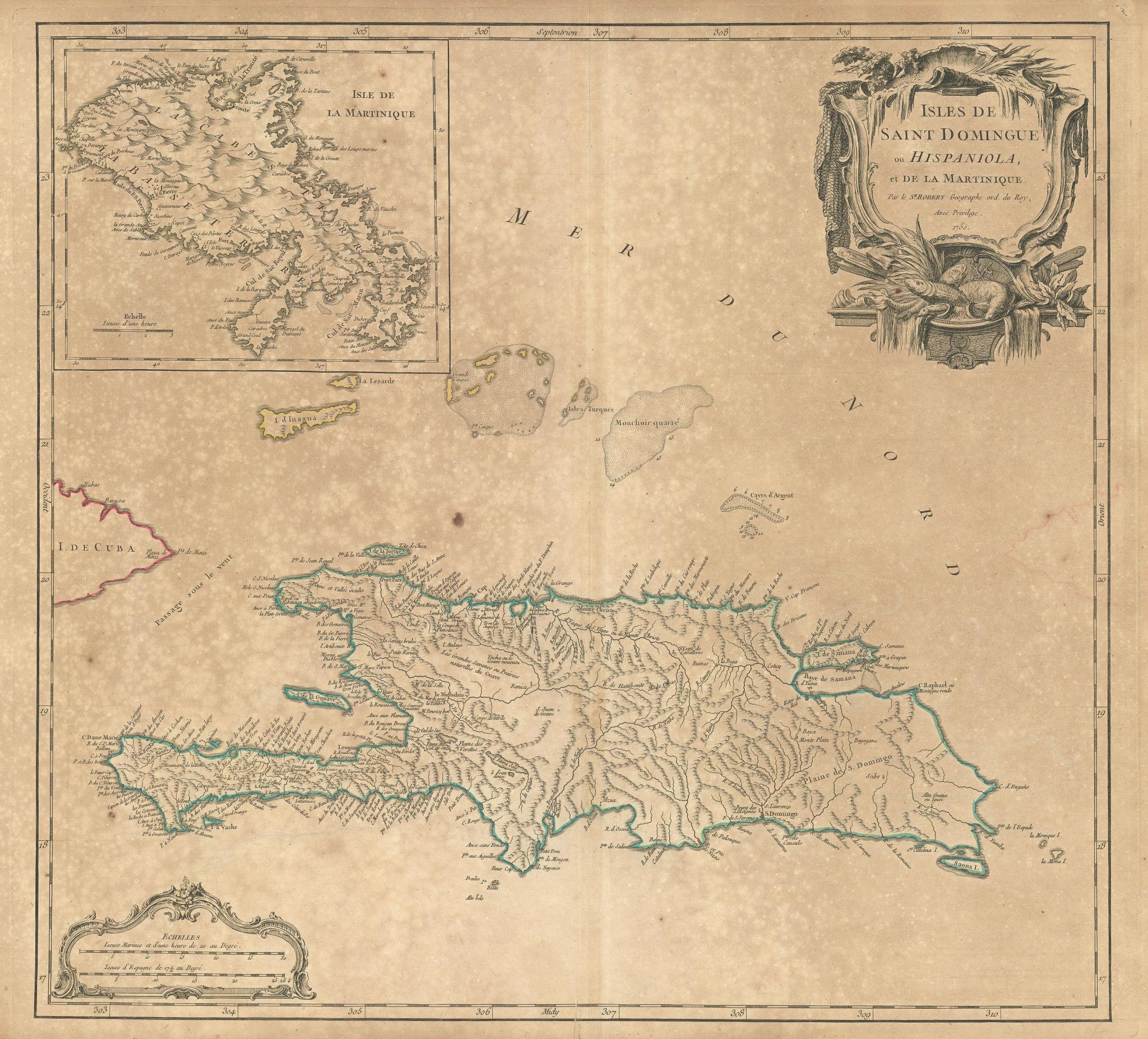 Saint Domingue ou Hispaniola et...Martinique'. Santo Domingo. VAUGONDY 1750 map