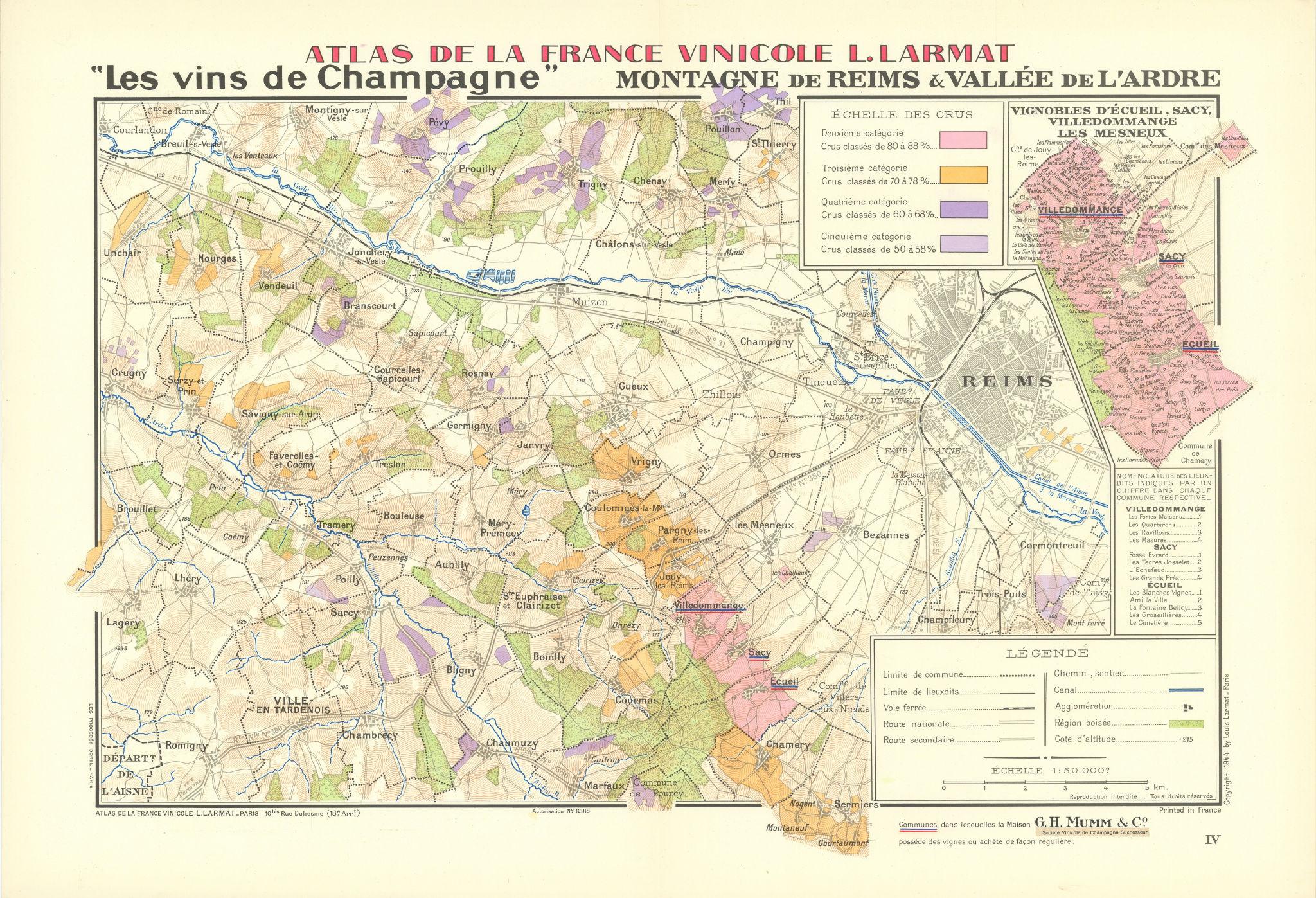 CHAMPAGNE VINEYARD MAP Montagne de Reims. Vallée de l'Ardre. Mumm. LARMAT 1944