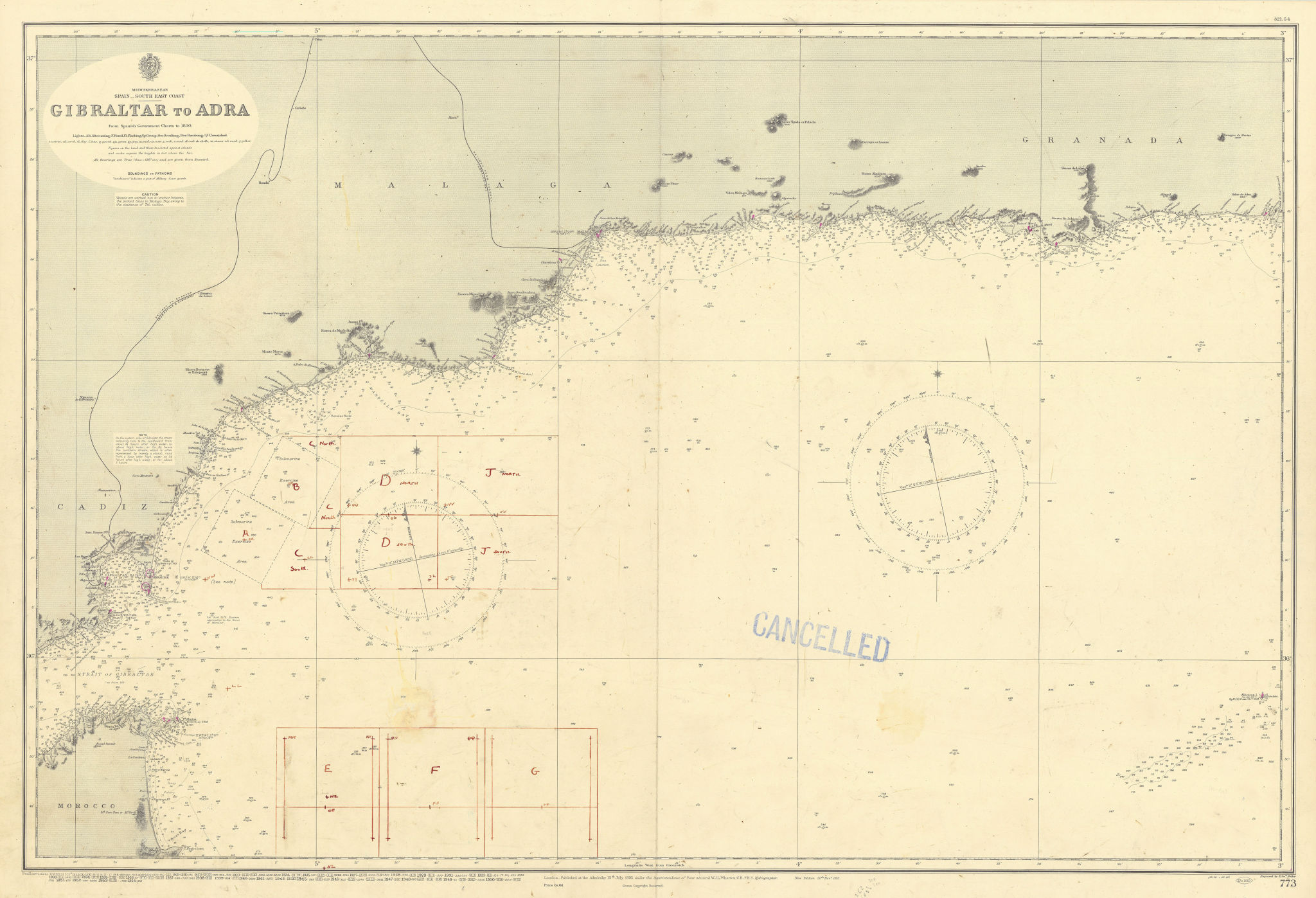 Spain SE coast Gibraltar-Adra Andalusia Malaga ADMIRALTY chart 1895 (1954) map