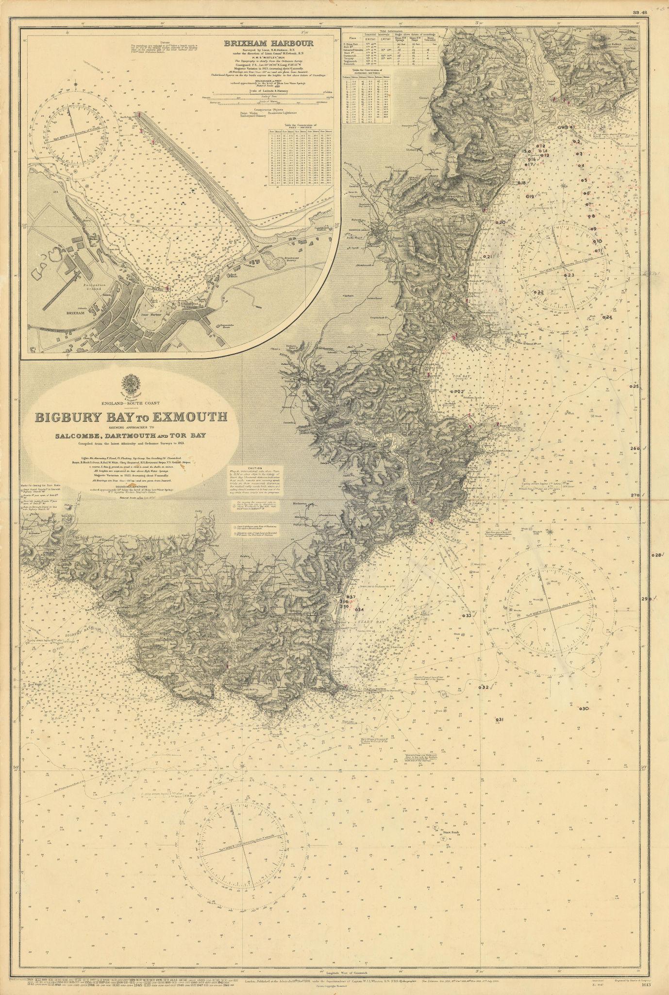South Devon coast Salcombe Dartmouth Torbay ADMIRALTY sea chart 1891 (1948) map