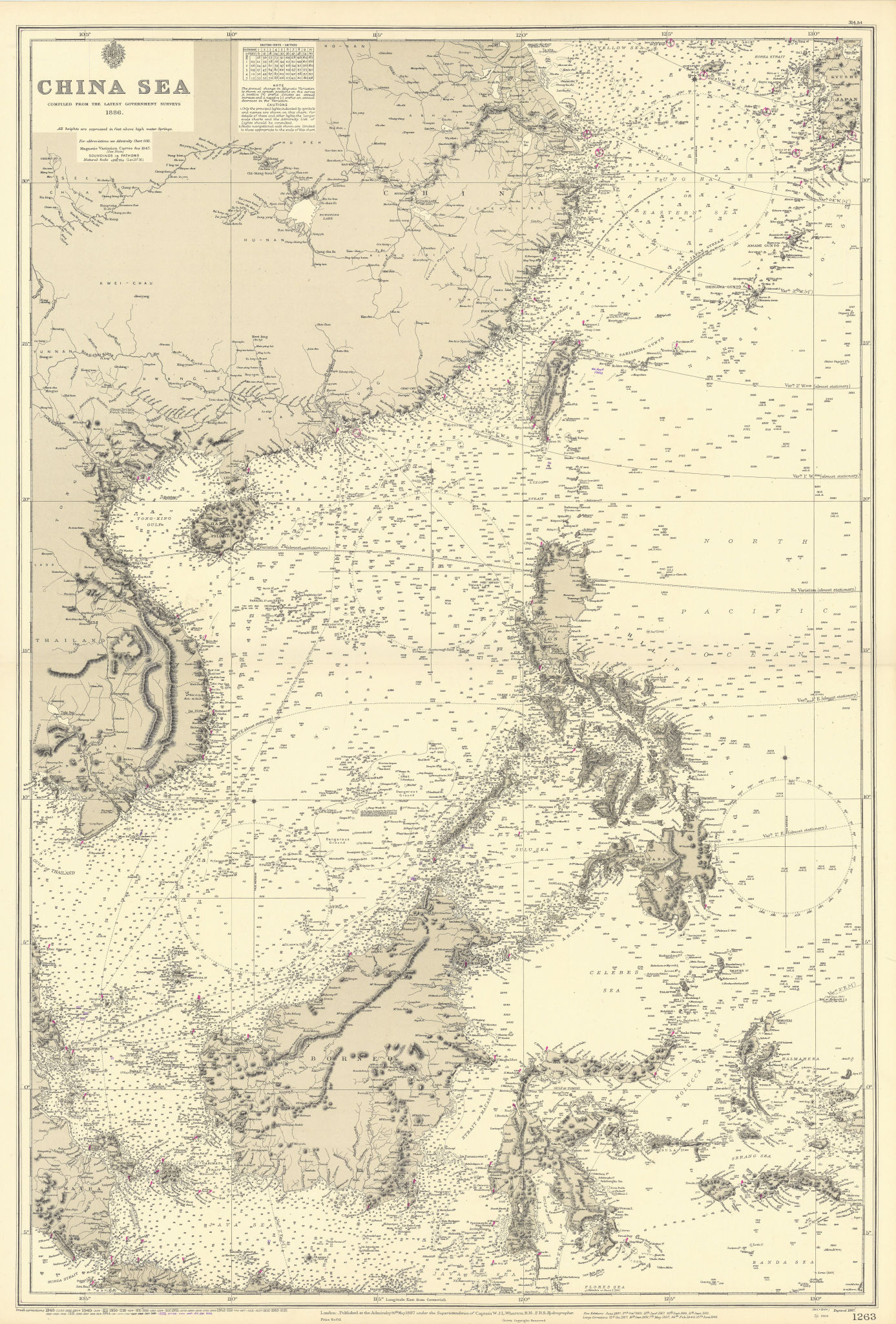 China Sea. East Asia. Philippines Indonesia. ADMIRALTY sea chart 1887 (1955) map