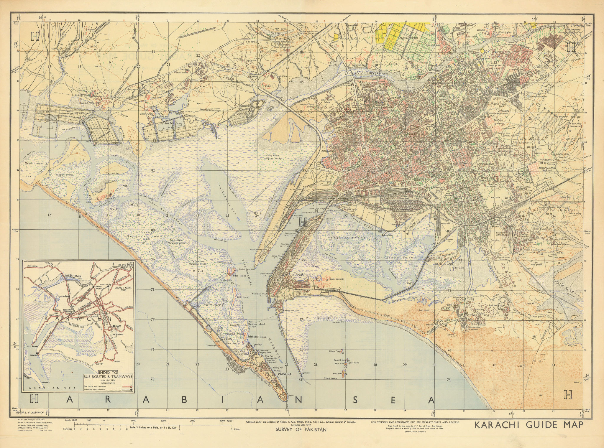 Karachi Town city plan. Survey of Pakistan 1951 old vintage map chart