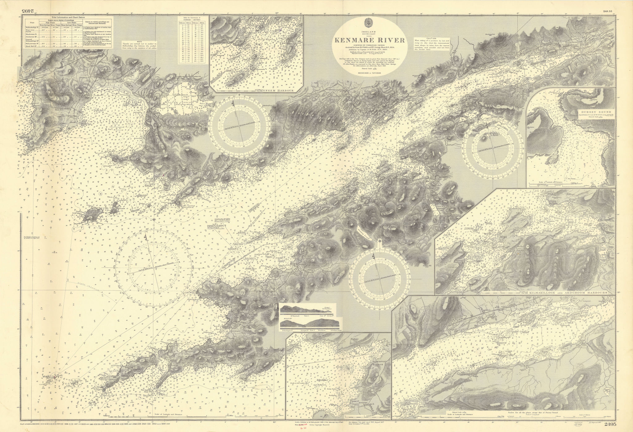 Kenmare River & harbours. Ireland. ADMIRALTY sea chart 1857 (1955) old map