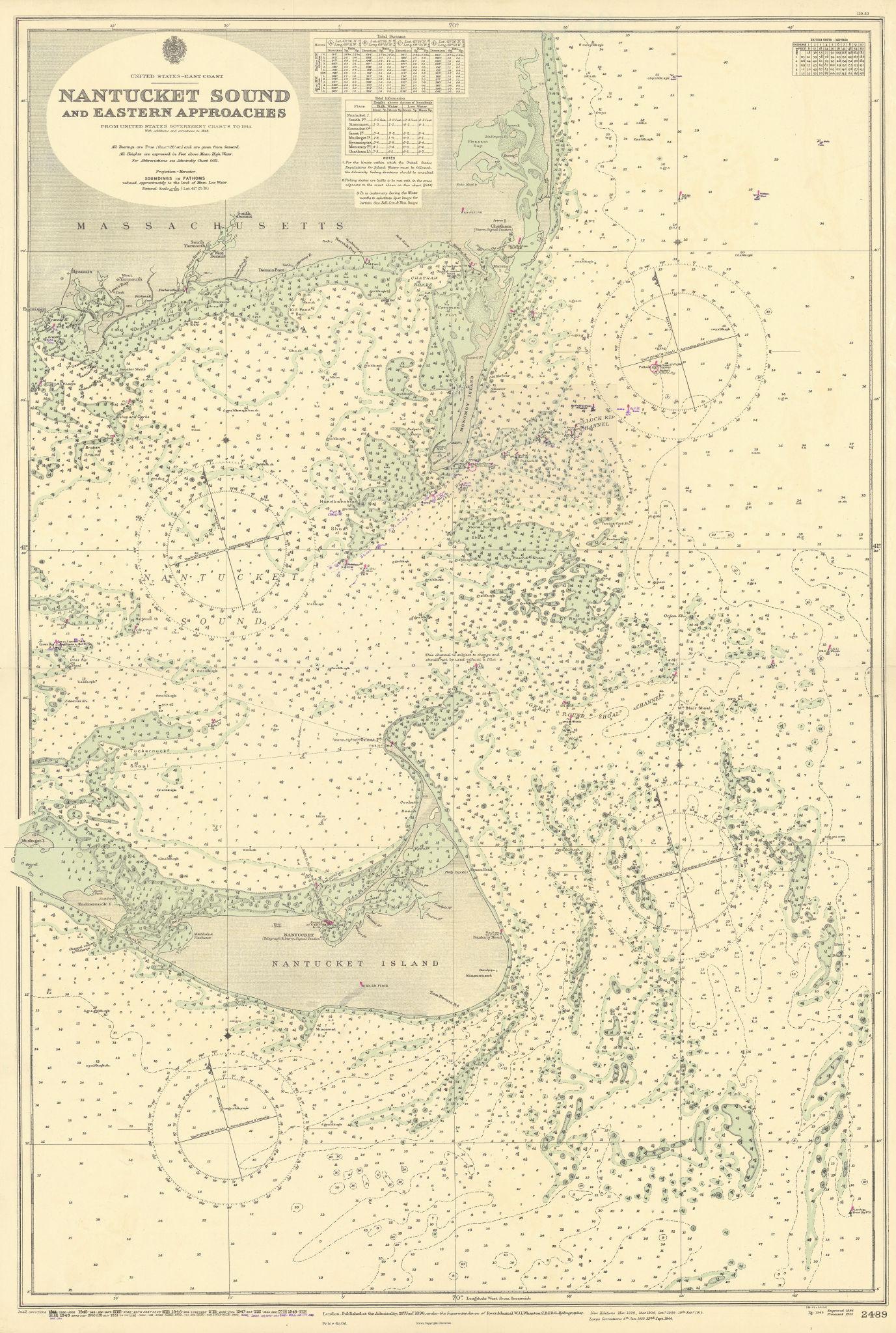Nantucket Island Sound Cape Cod Massachusetts ADMIRALTY chart 1896 (1955) map